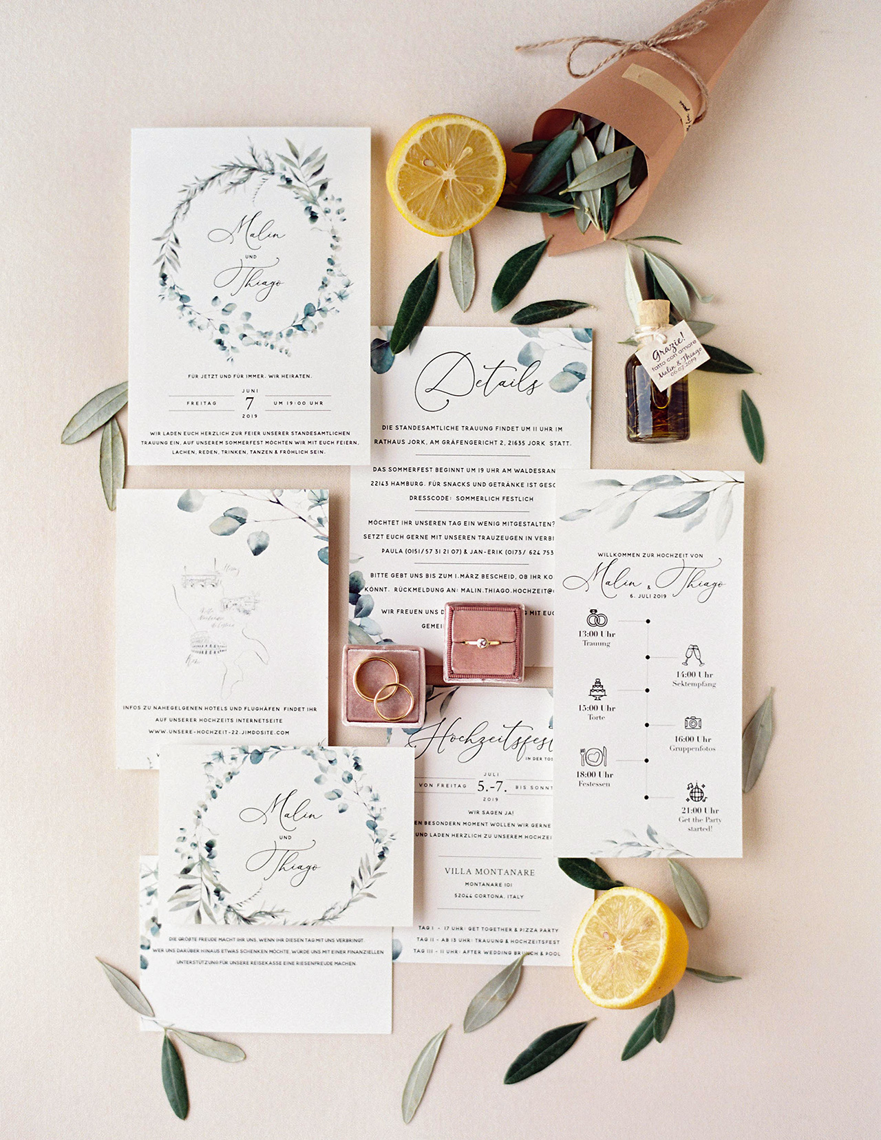 olive branch themed wedding invitation suite
