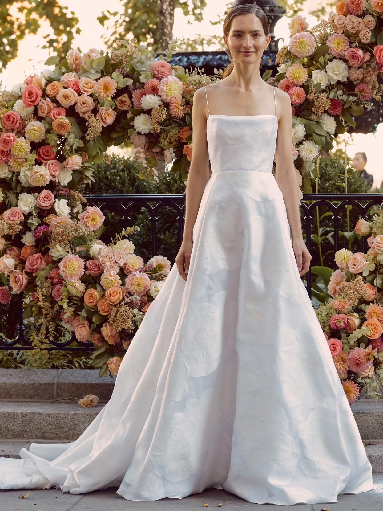 lela rose spaghetti strap straight across a-line wedding dress fall 2020