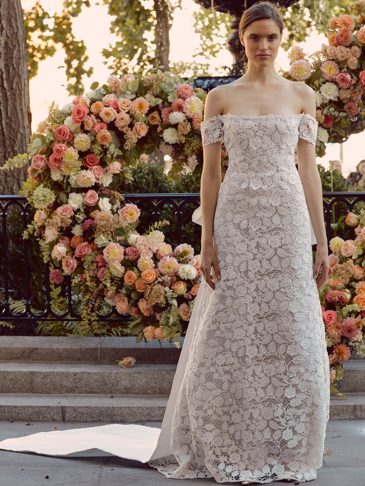 lela rose lace off-the-shoulder wedding dress fall 2020