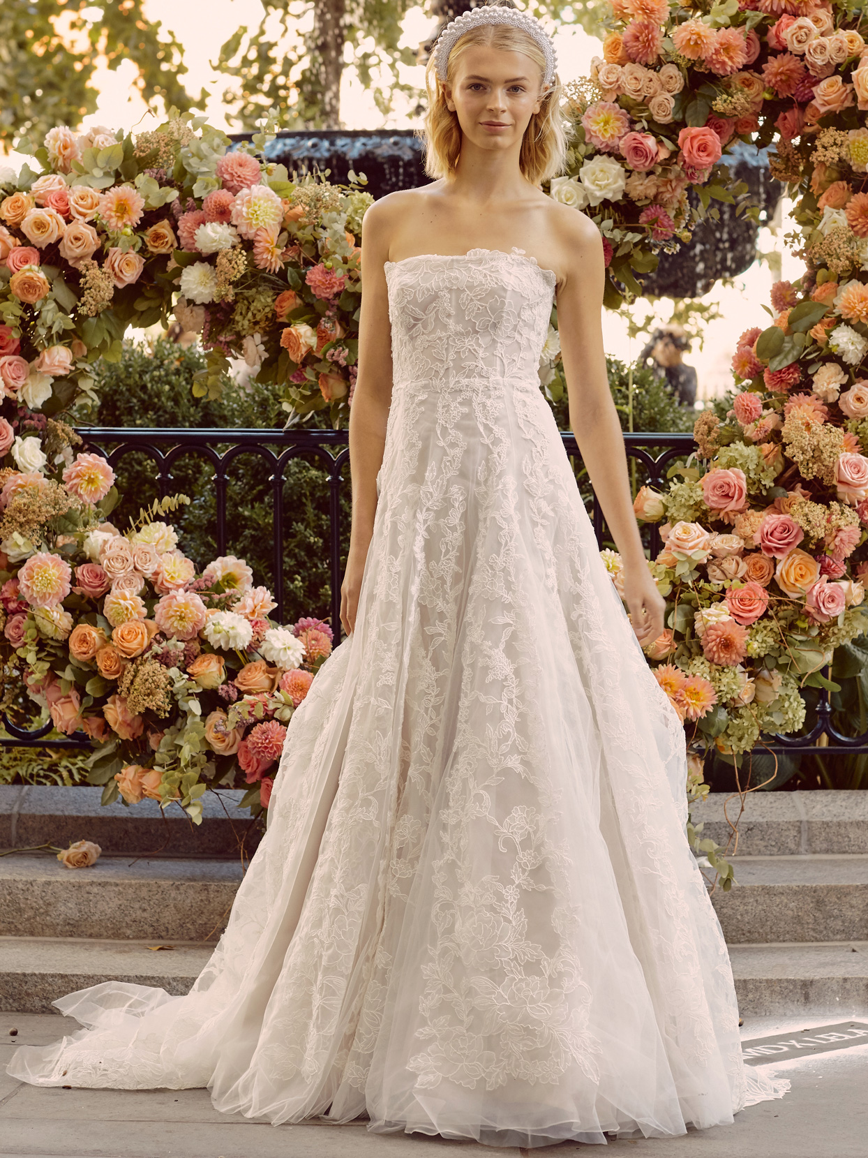 lela rose lace strapless a-line wedding dress fall 2020