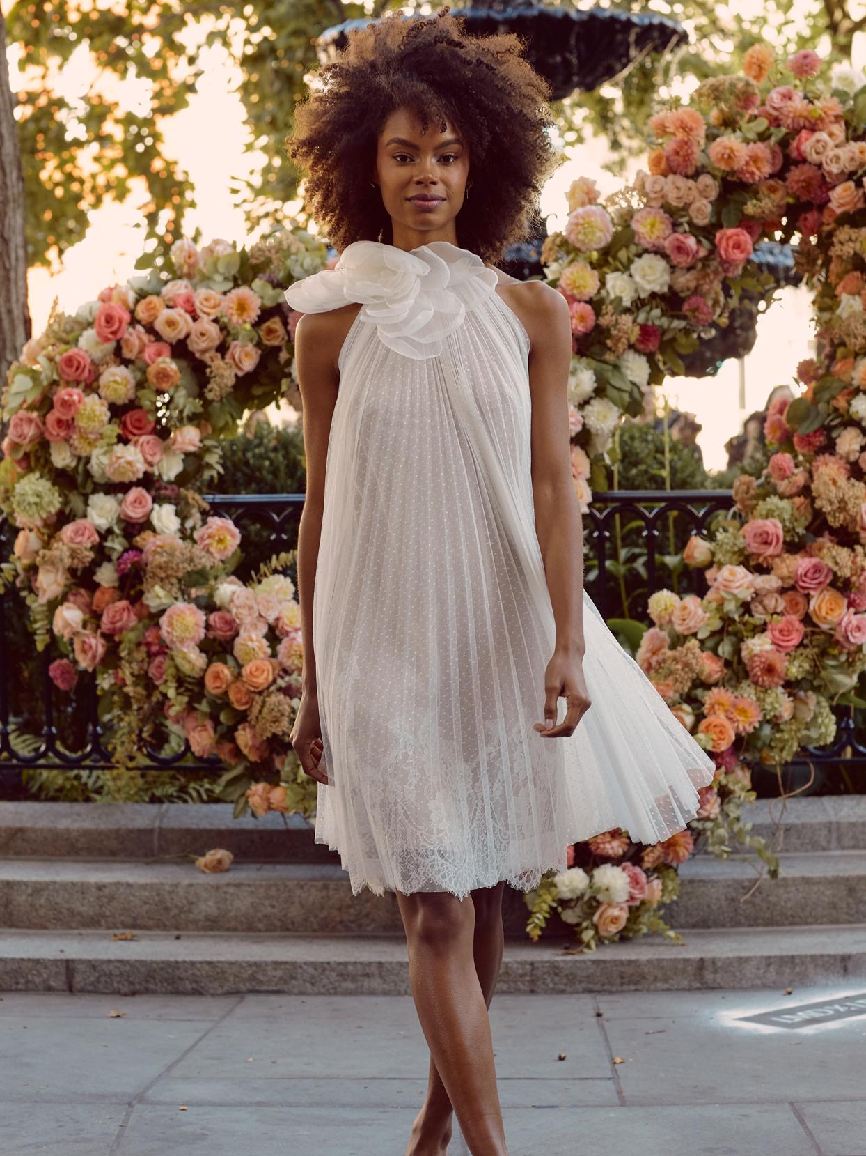 lela rose sheer short halter wedding dress with 3D floral detail fall 2020