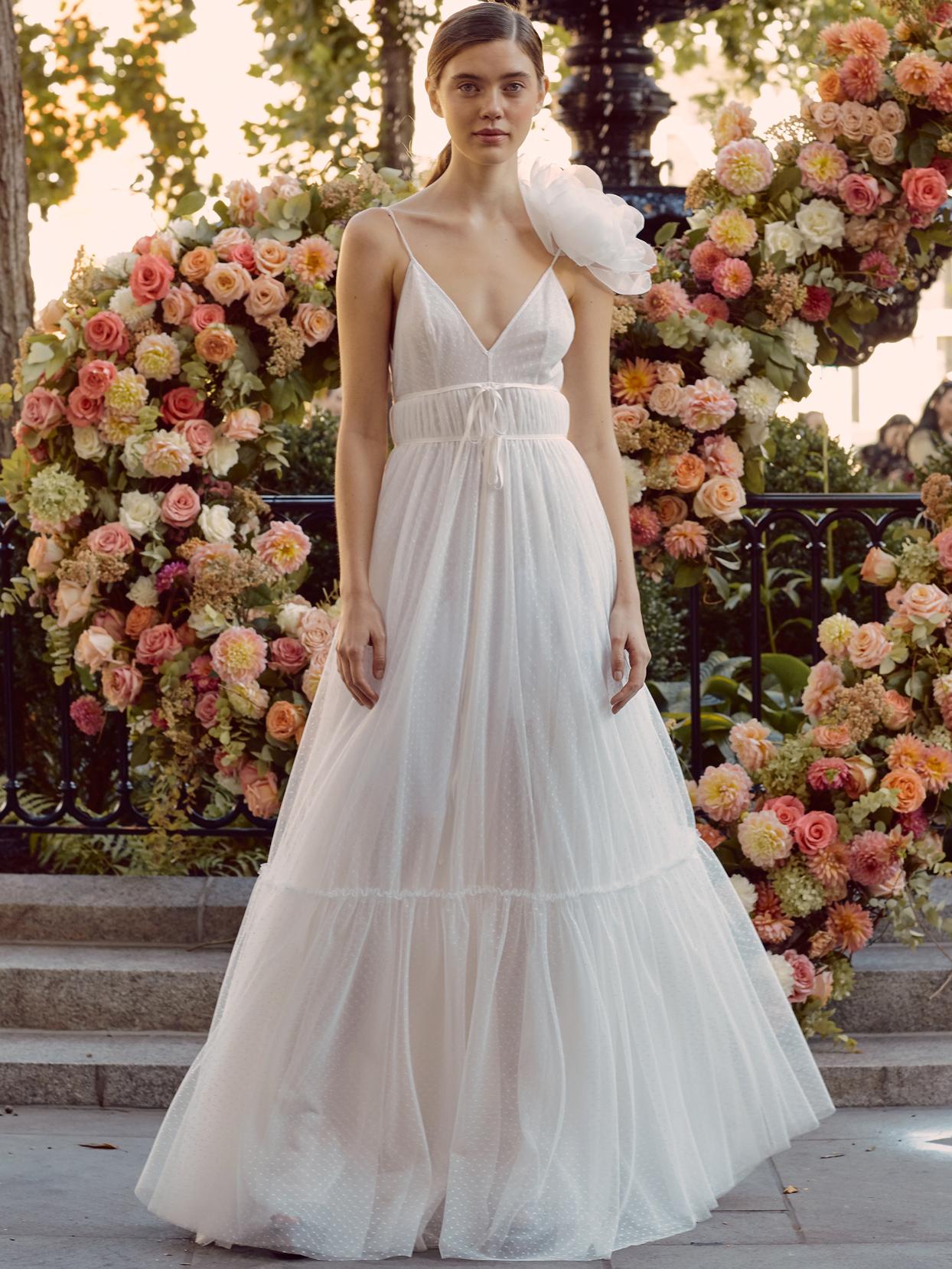 lela rose sheer spaghetti strap v-neck wedding dress with 3D floral detail fall 2020