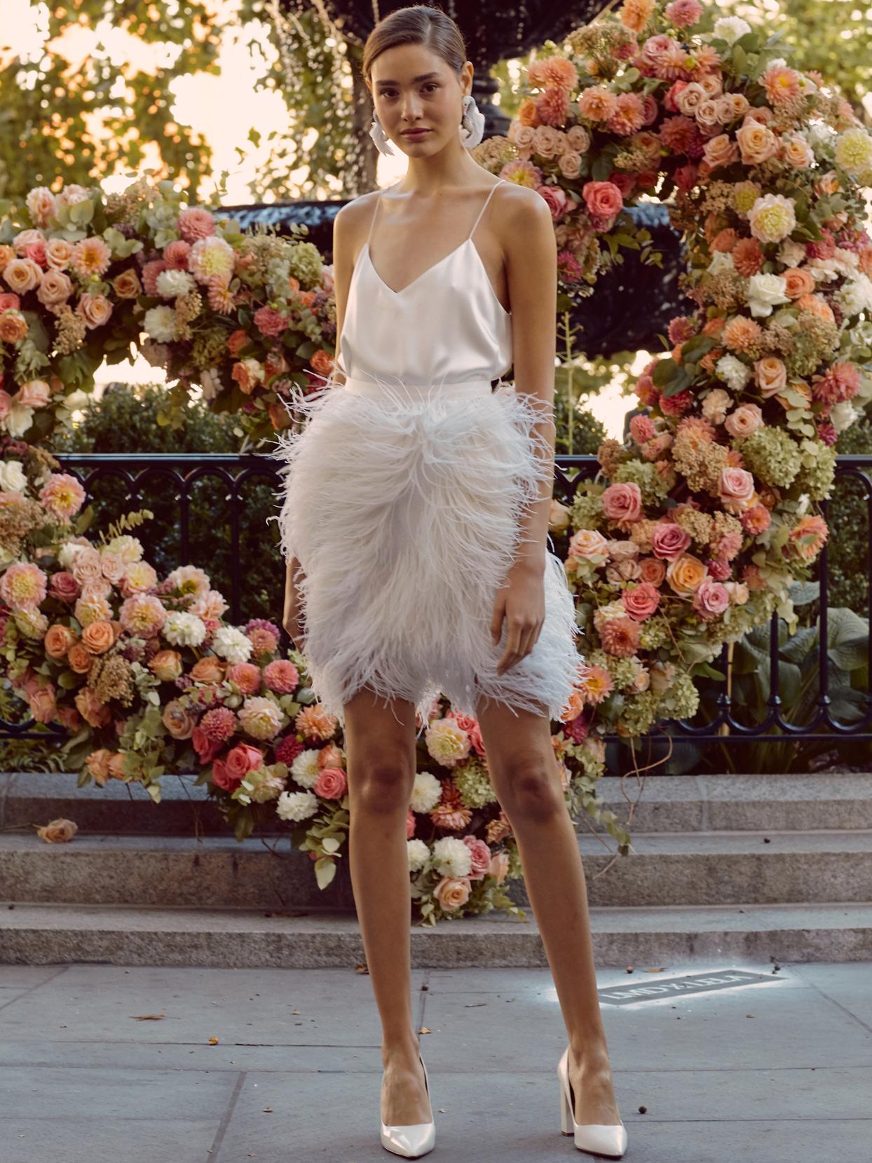 lela rose short spaghetti strap wedding dress with feathered skirt fall 2020
