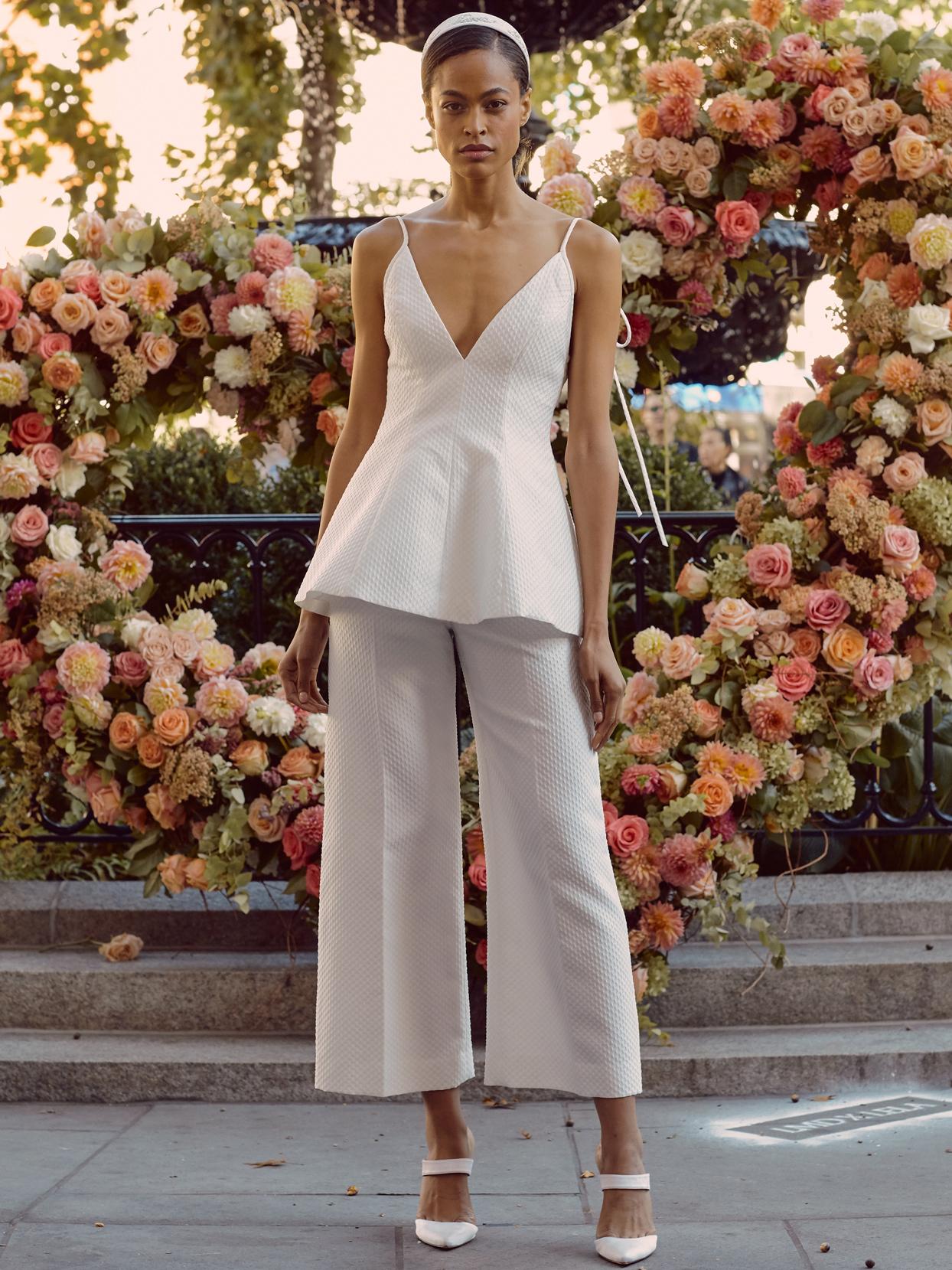 lela rose spaghetti strap v-neck top and capris wedding dress fall 2020
