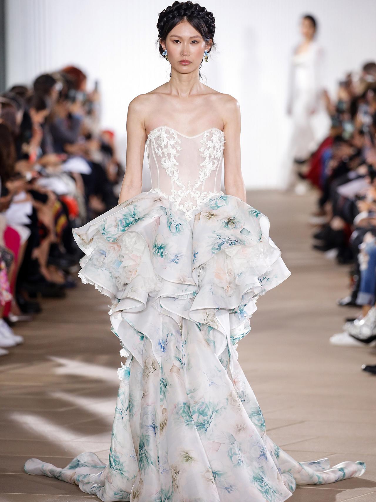 Ines Di Santo exposed boning vertical ruffles wedding dress fall 2020