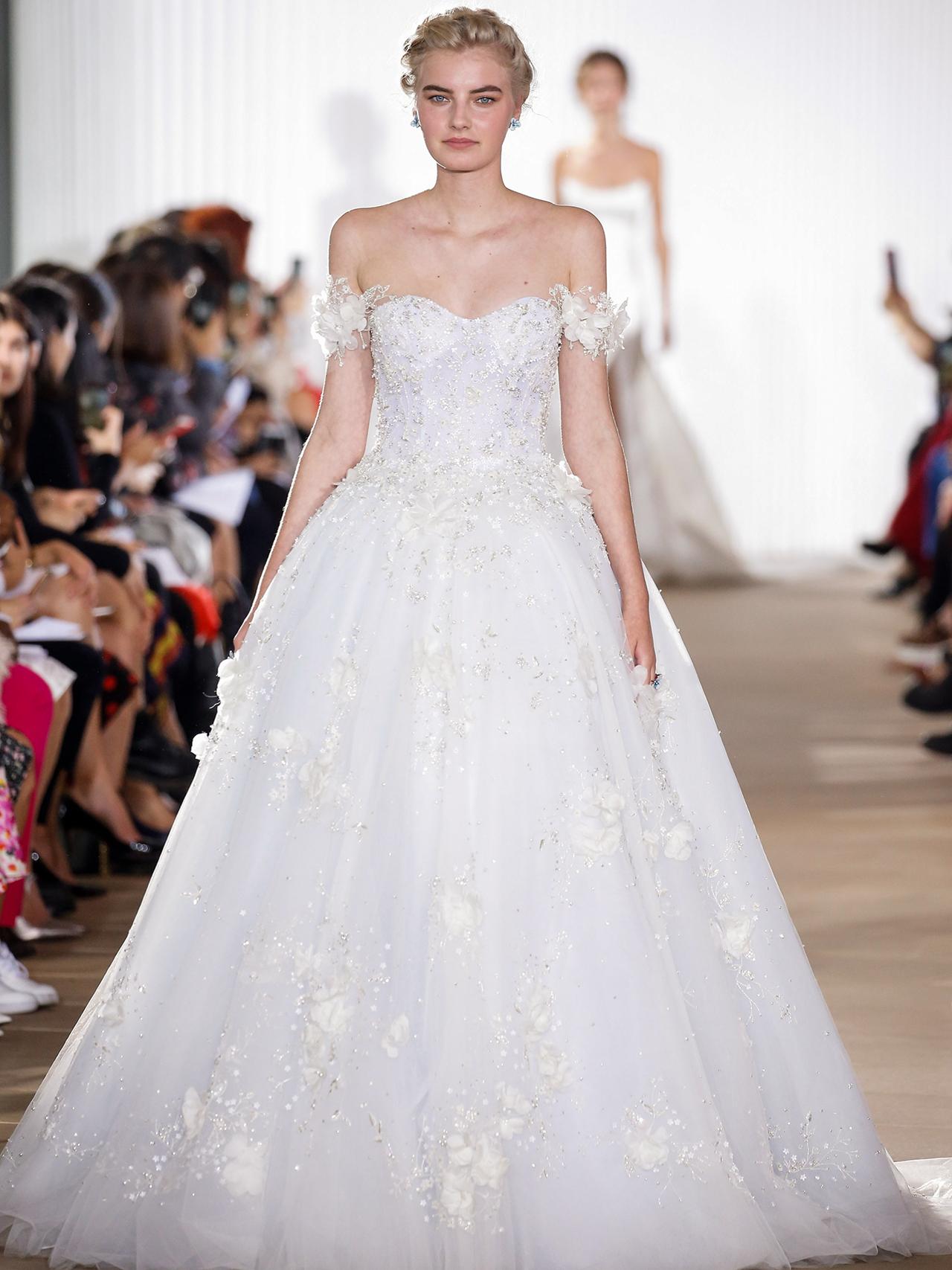 Ines Di Santo off the shoulder floral applique wedding dress fall 2020
