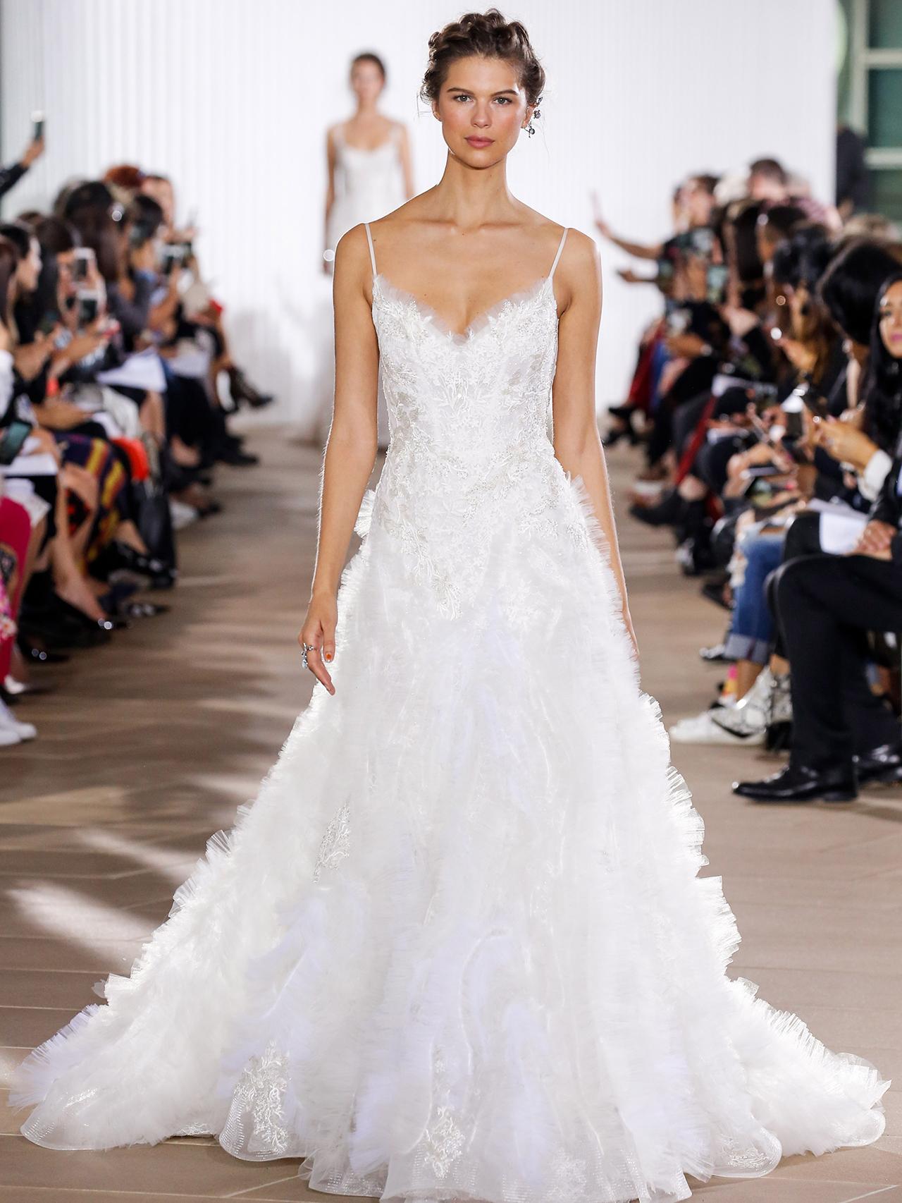 Ines Di Santo feathers a-line wedding dress fall 2020