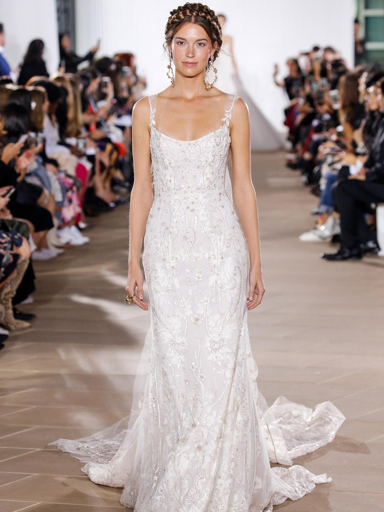 Ines Di Santo floral applique spaghetti strap wedding dress fall 2020
