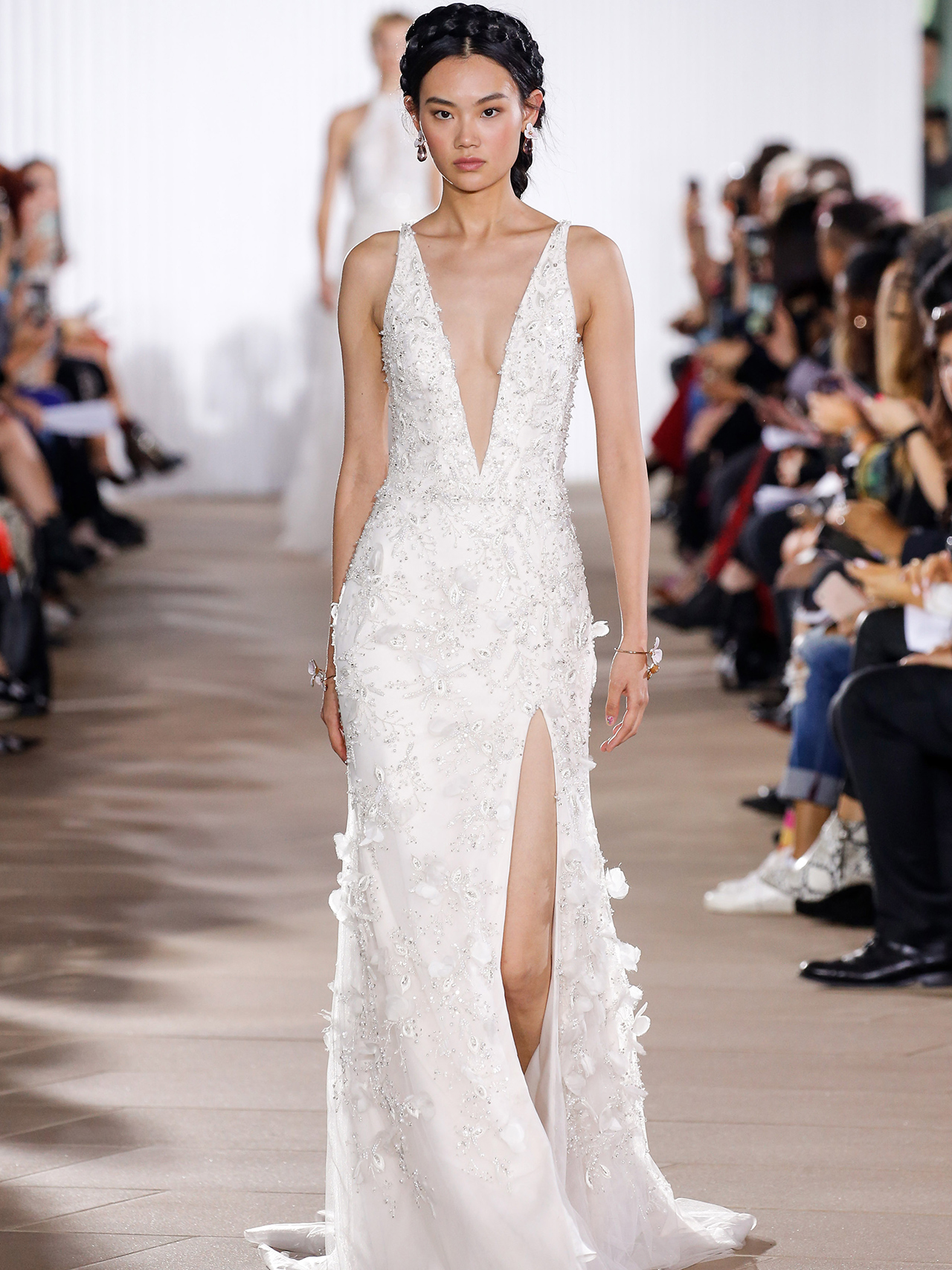 Ines Di Santo high slit v-neck wedding dress fall 2020