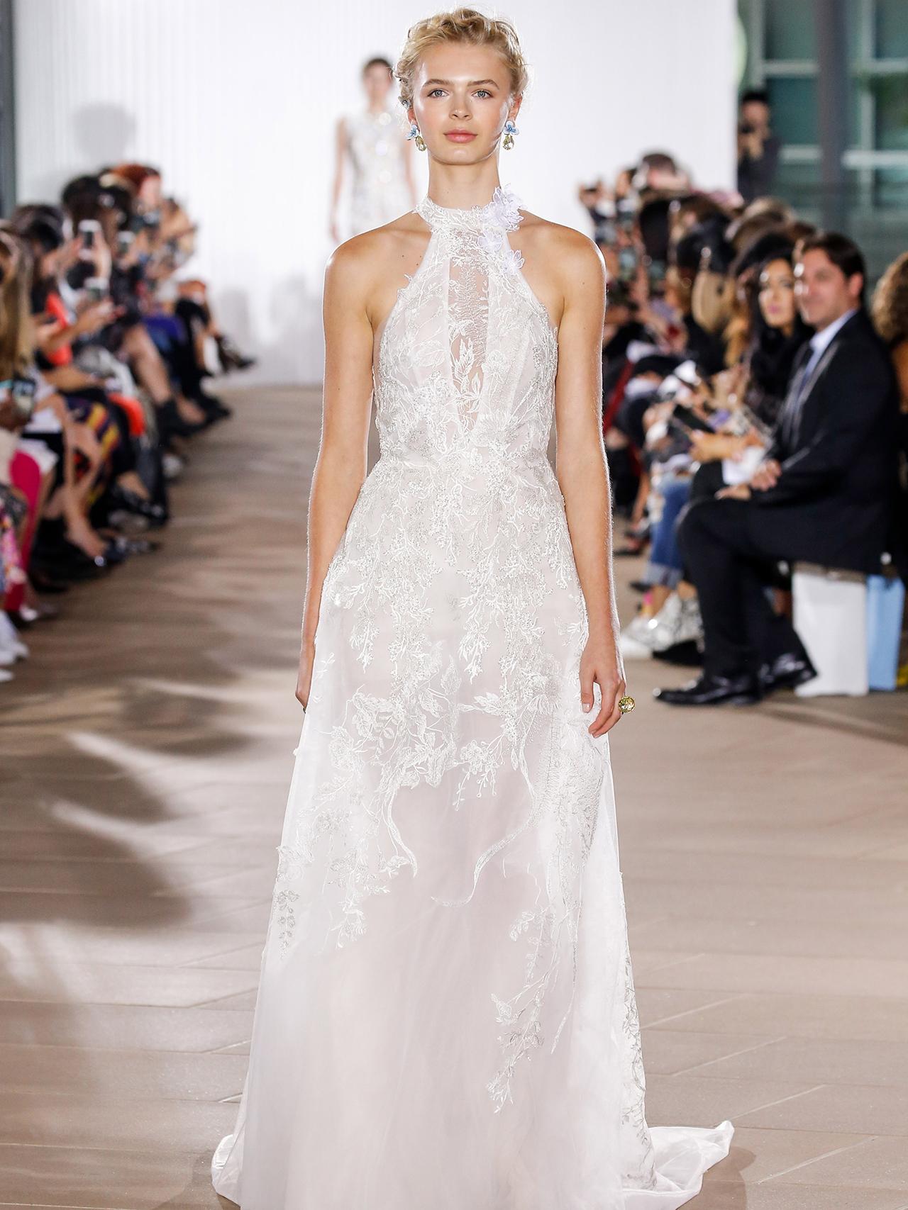 Ines Di Santo floral applique sheath wedding dress fall 2020