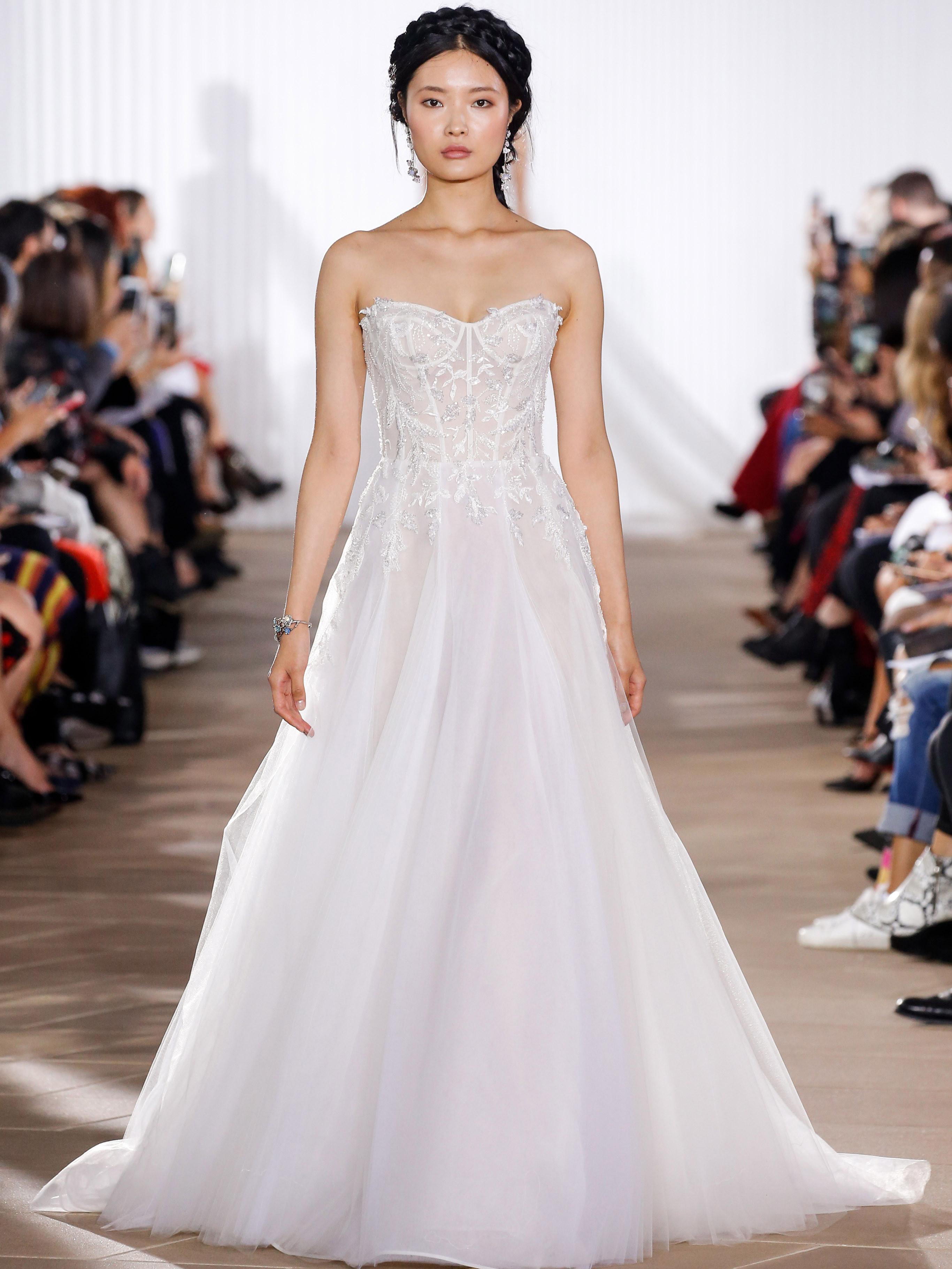 Ines Di Santo exposed boning a-line wedding dress fall 2020