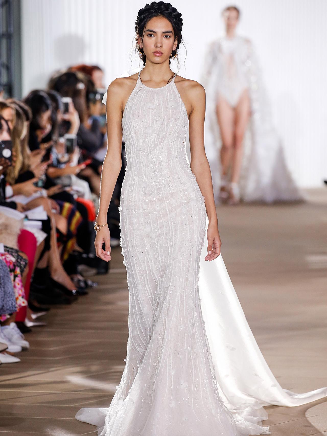 Ines Di Santo halter trumpet wedding dress fall 2020