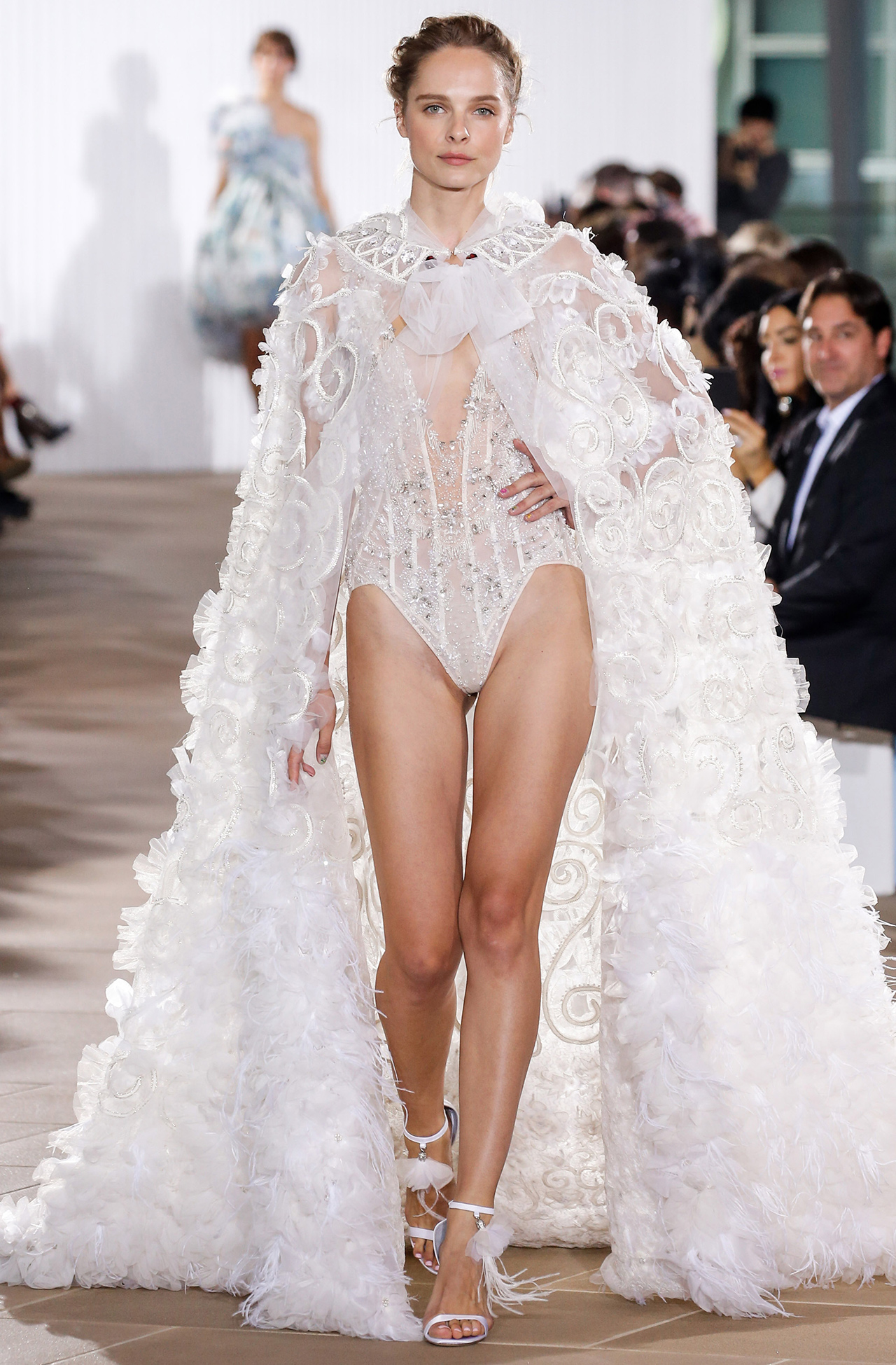 Ines Di Santo v-neck cape wedding dress fall 2020