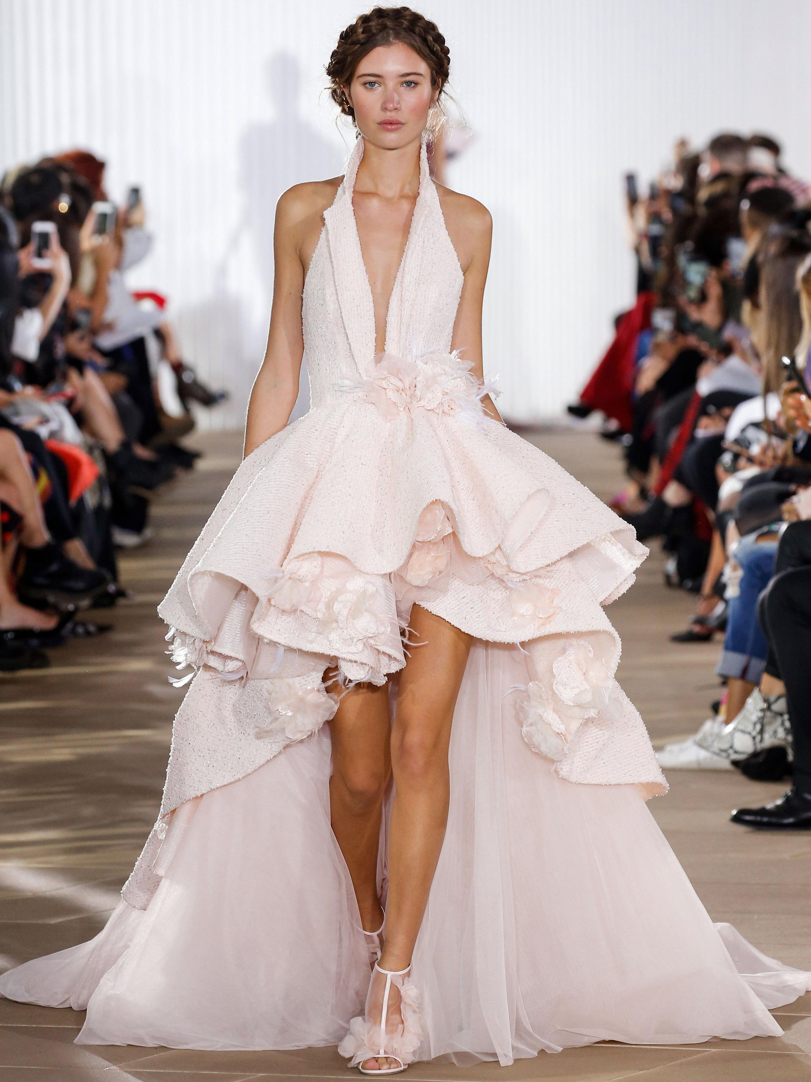 Ines Di Santo v-neck high-low wedding dress fall 2020