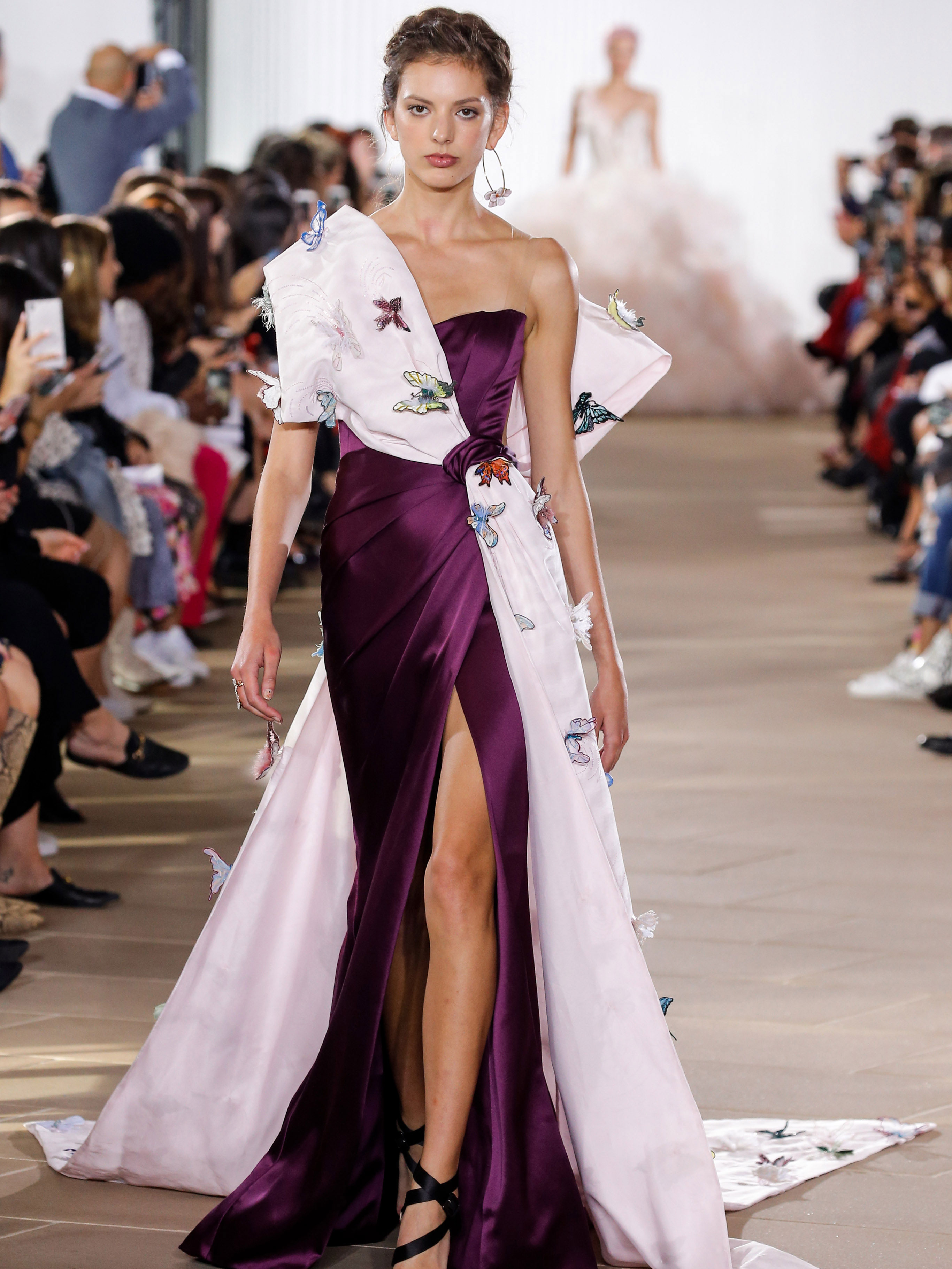 Ines Di Santo high slit one-sholder violet wedding dress fall 2020