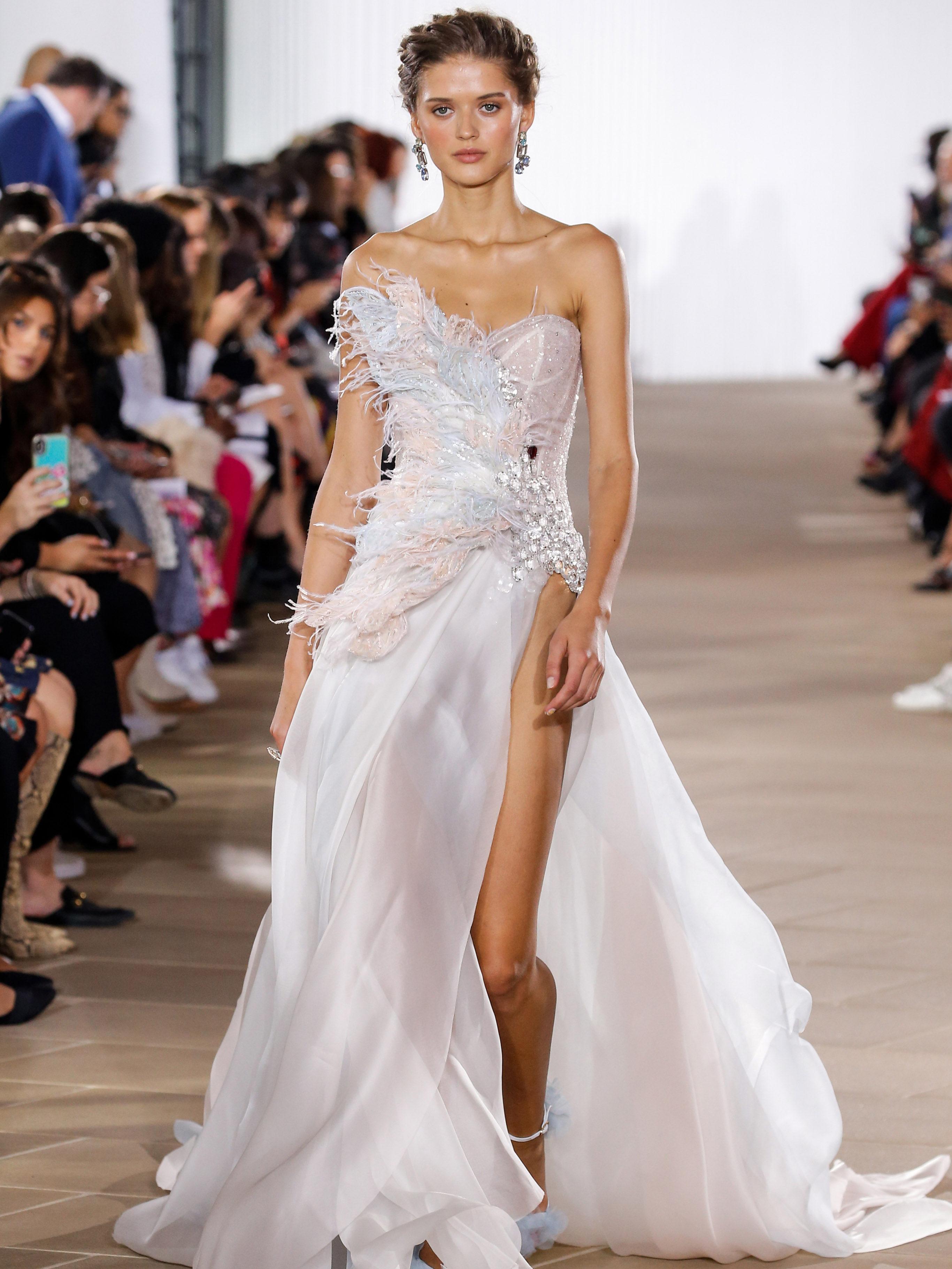 Ines Di Santo strapless high slit wedding dress fall 2020