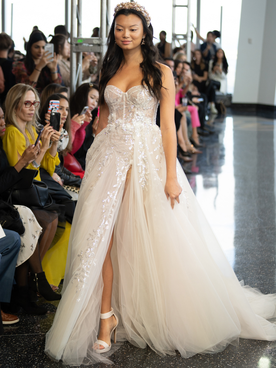 berta exposed boning bodice tulle skirt wedding dress fall 2020