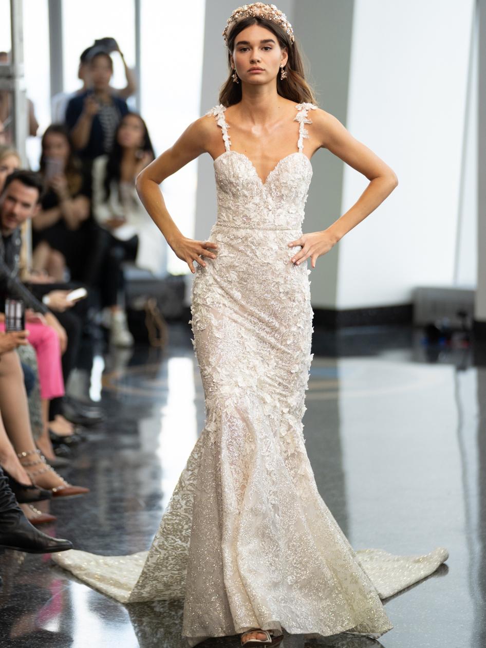 berta floral lace mermaid wedding dress fall 2020