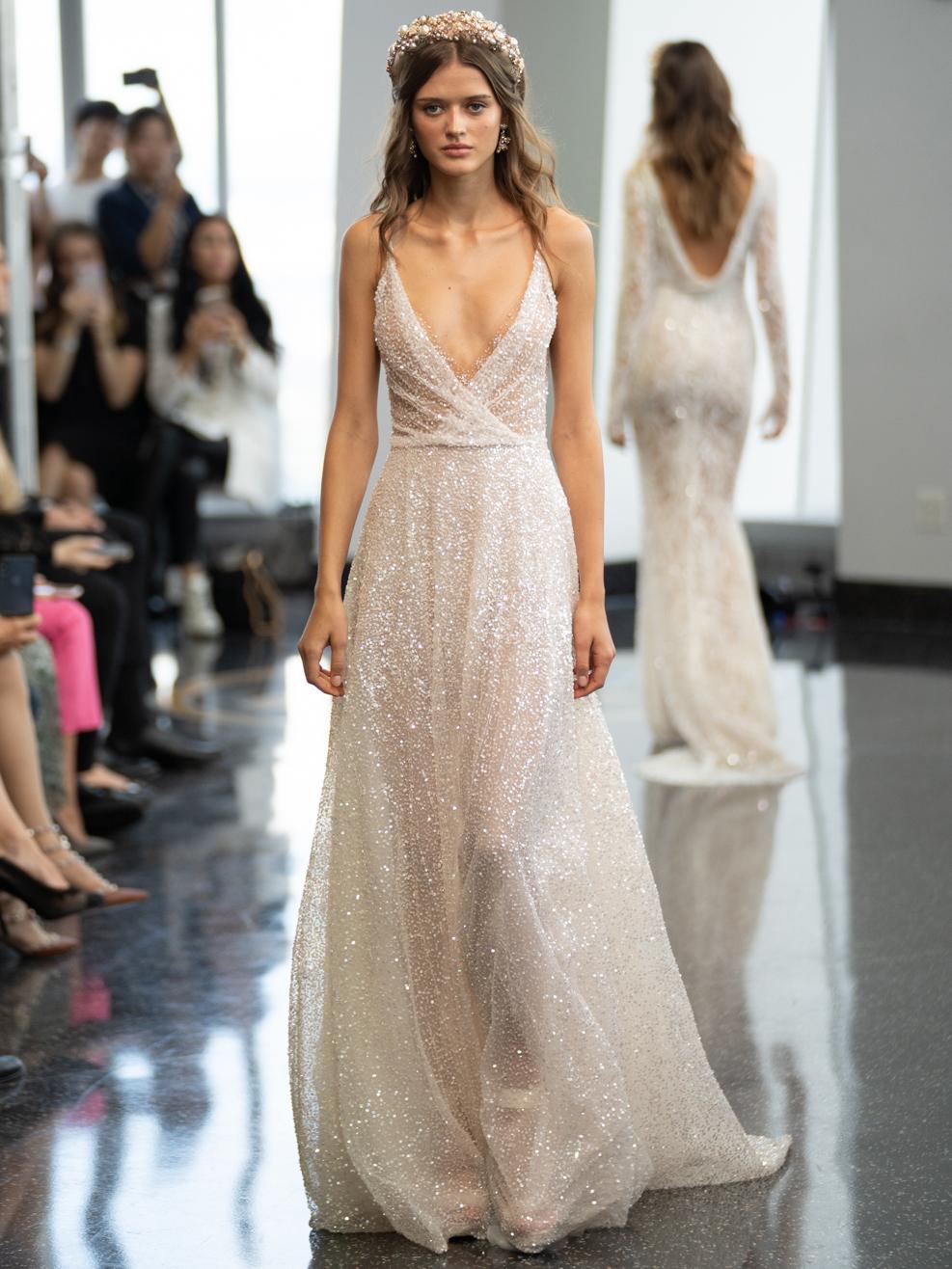berta v neck a line wedding dress fall 2020