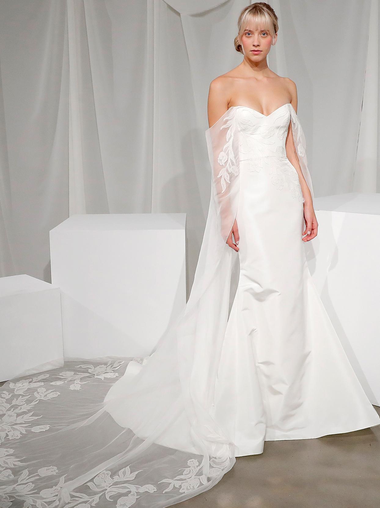amsale off the shoulder mermaid wedding dress fall 2020