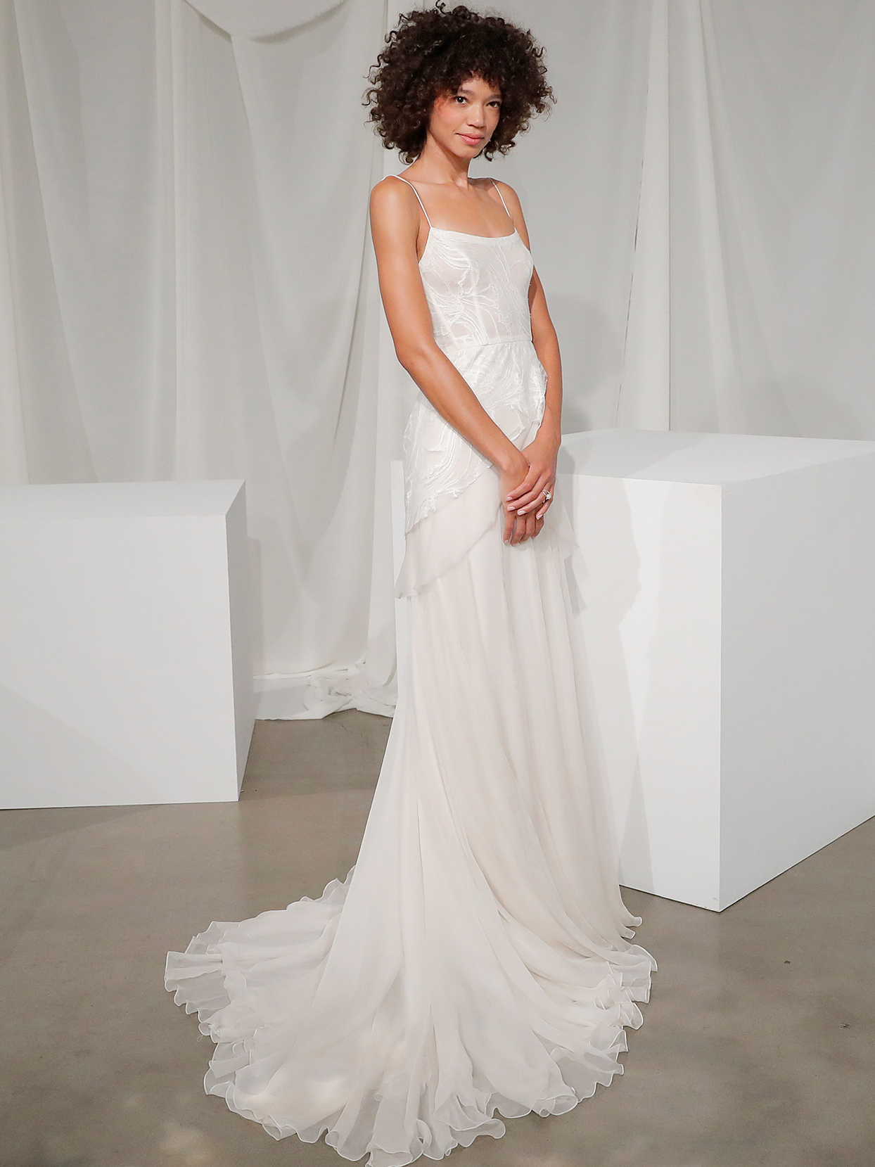 amsale spaghetti strap a line wedding dress fall 2020