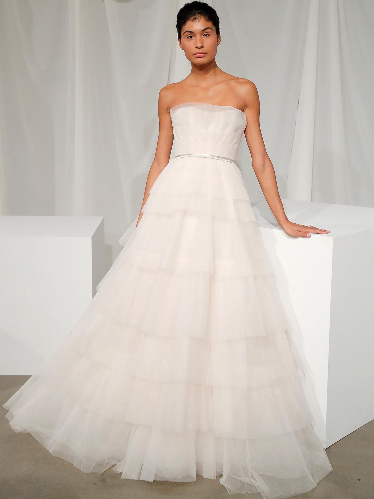 amsale strapless tulle ruffled wedding dress fall 2020