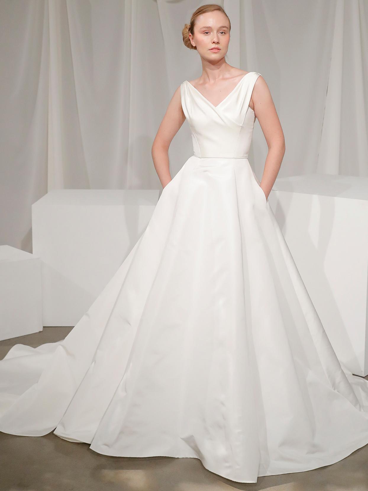 amsale sleeveless v neck ball gown wedding dress fall 2020