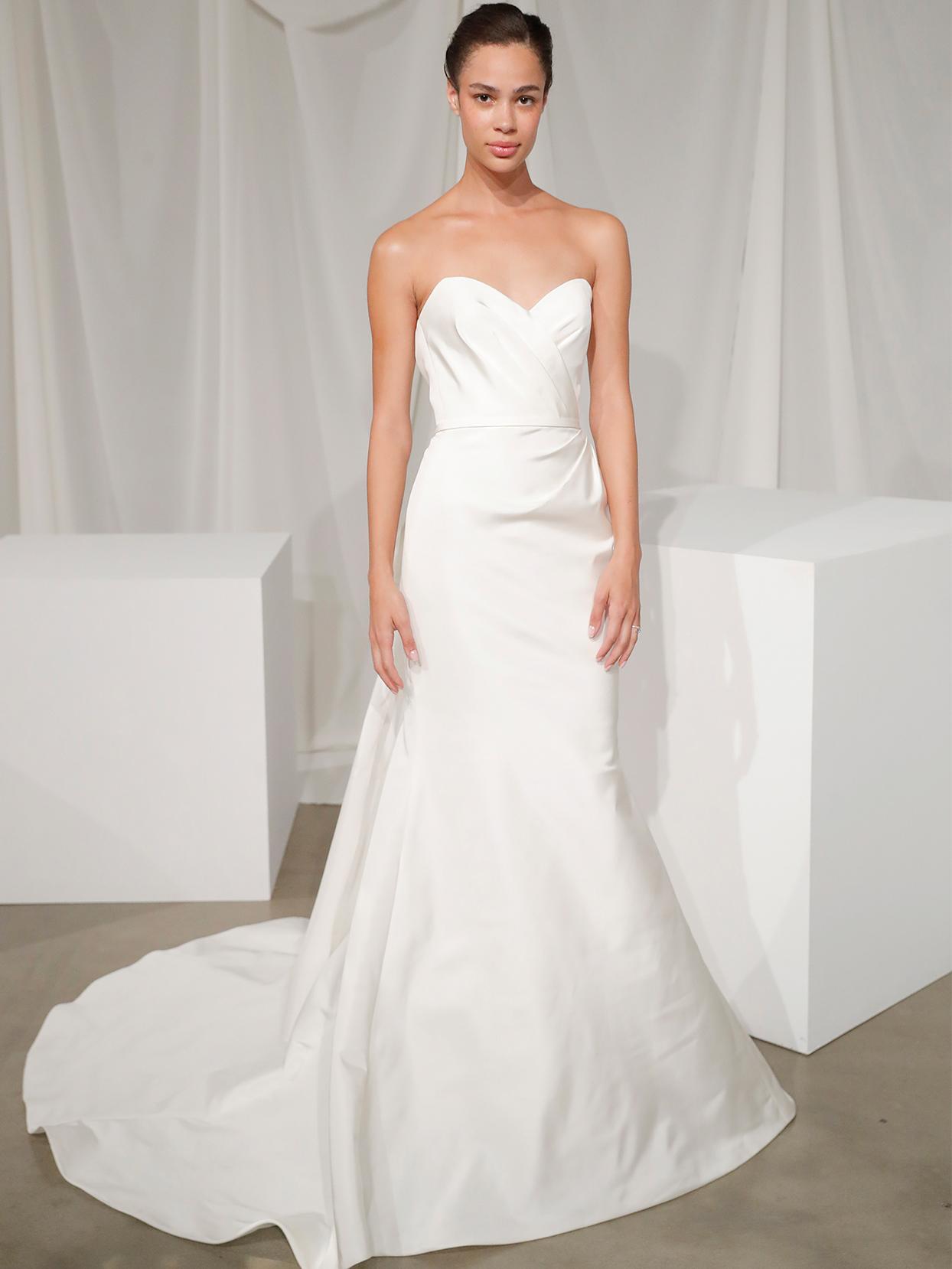amsale sweetheart strapless trumpet wedding dress fall 2020
