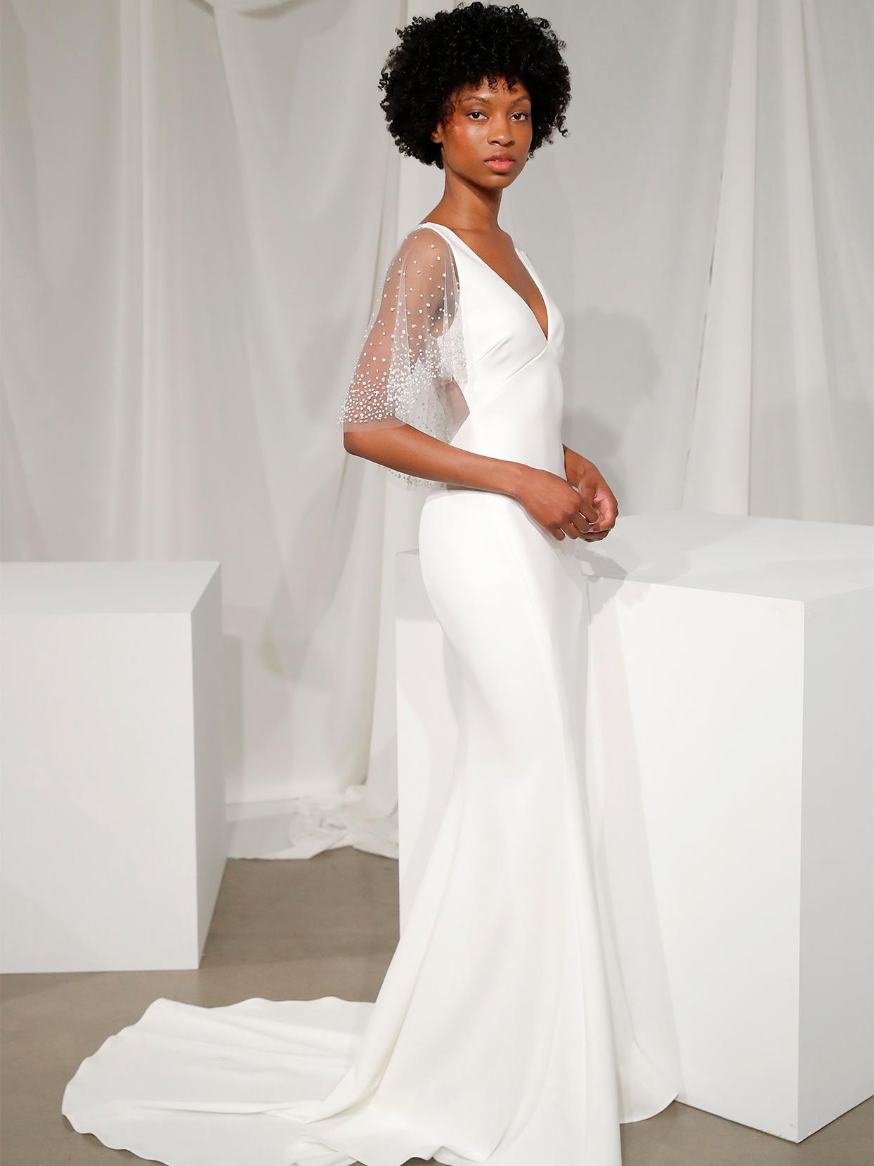 amsale v neck illusion bell sleeve wedding dress fall 2020