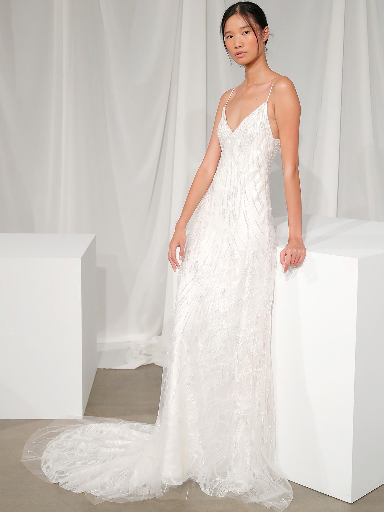 amsale spaghetti strap lace overlay wedding dress fall 2020