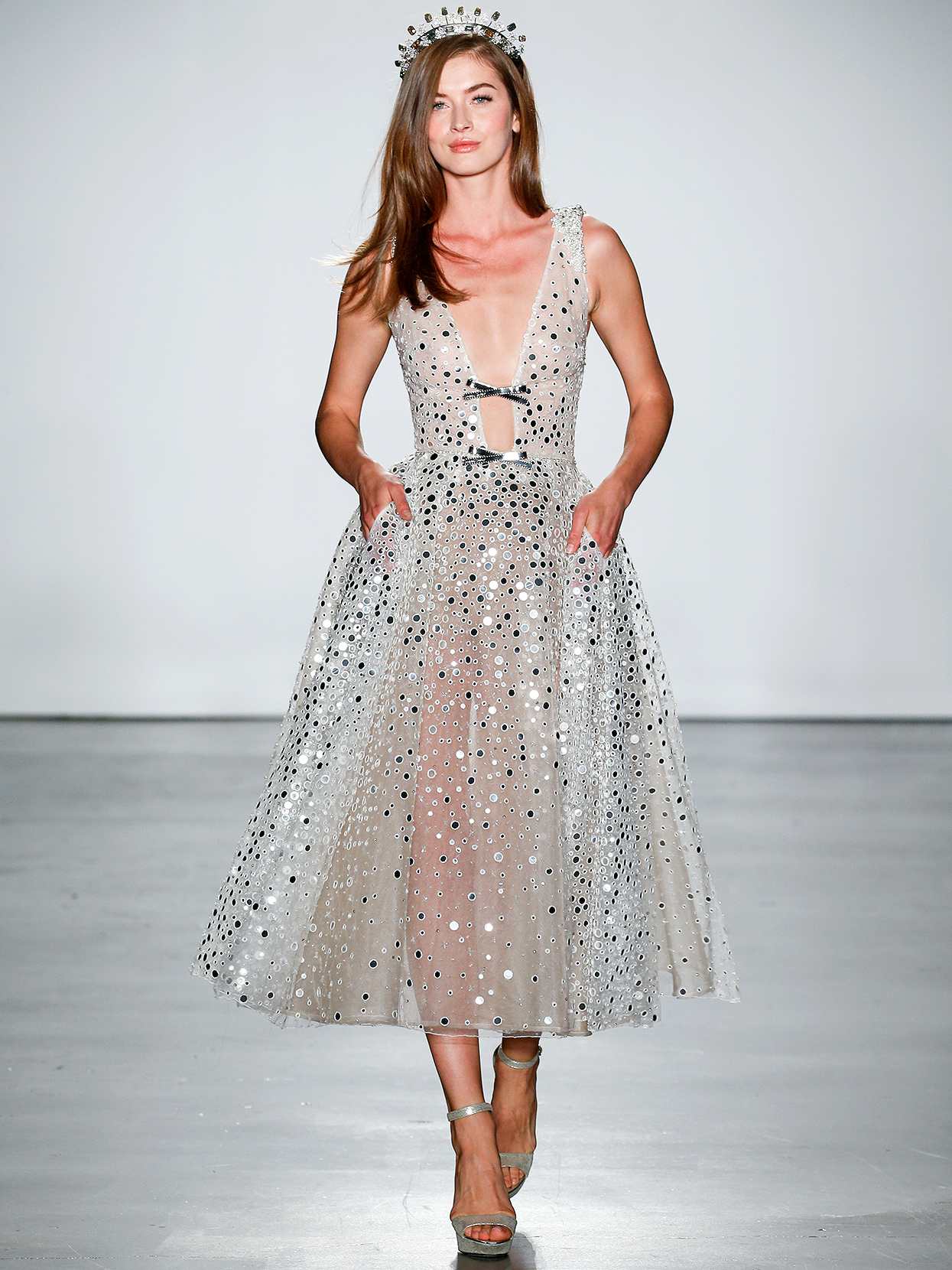 Inbal Dror tea-length embellished a-line wedding dress fall 2020