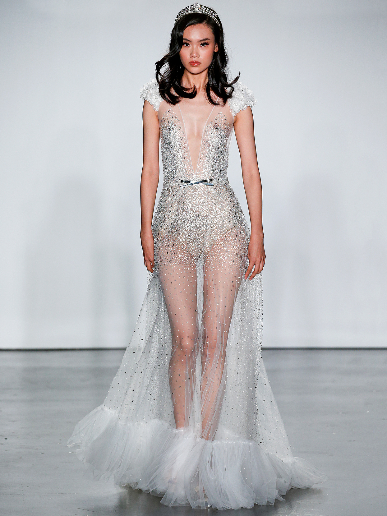 Inbal Dror cap-sleeve embellished overlay wedding dress fall 2020