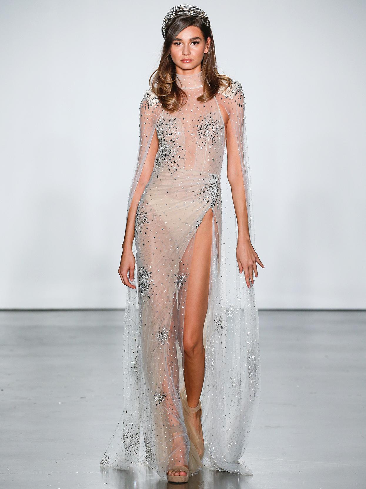 Inbal Dror sheer high-neck with cape wedding dress fall 2020