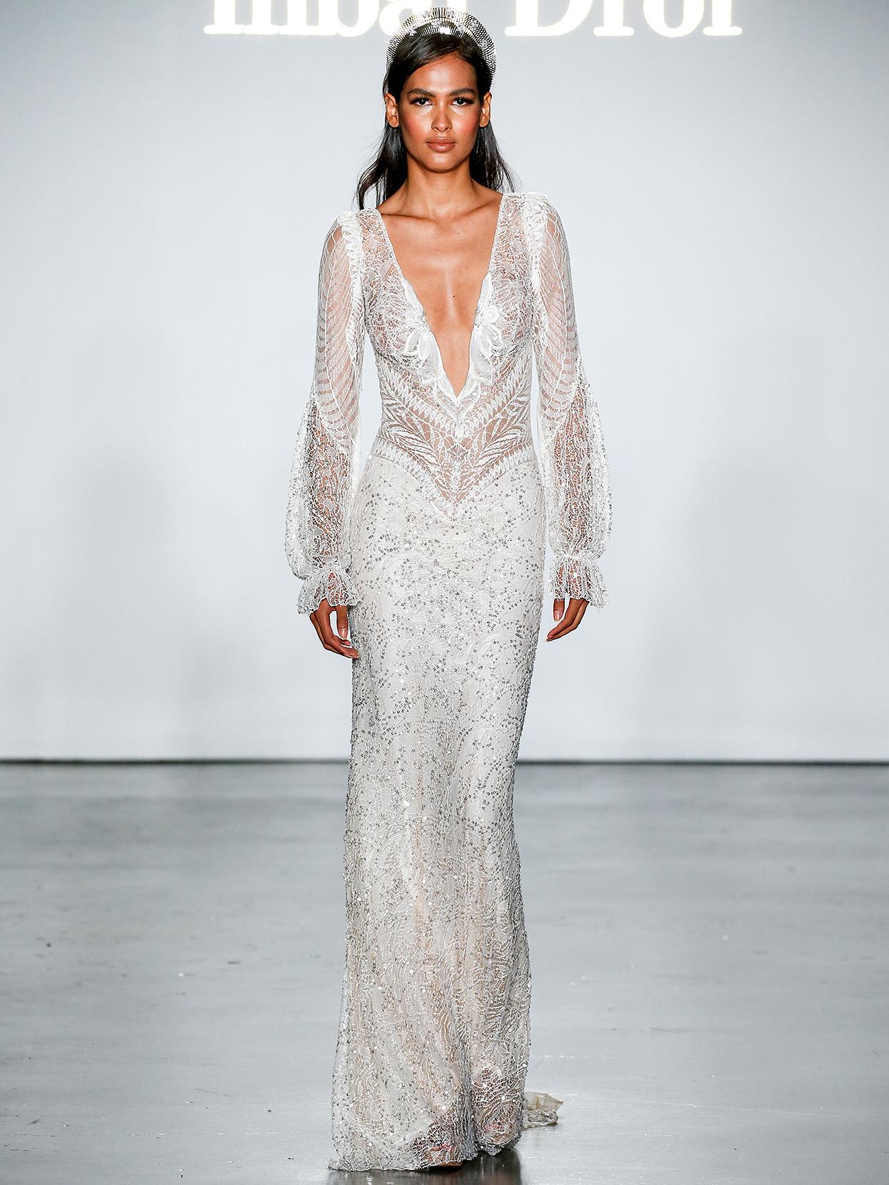 Inbal Dror long-sleeved embroidered sheath wedding dress fall 2020