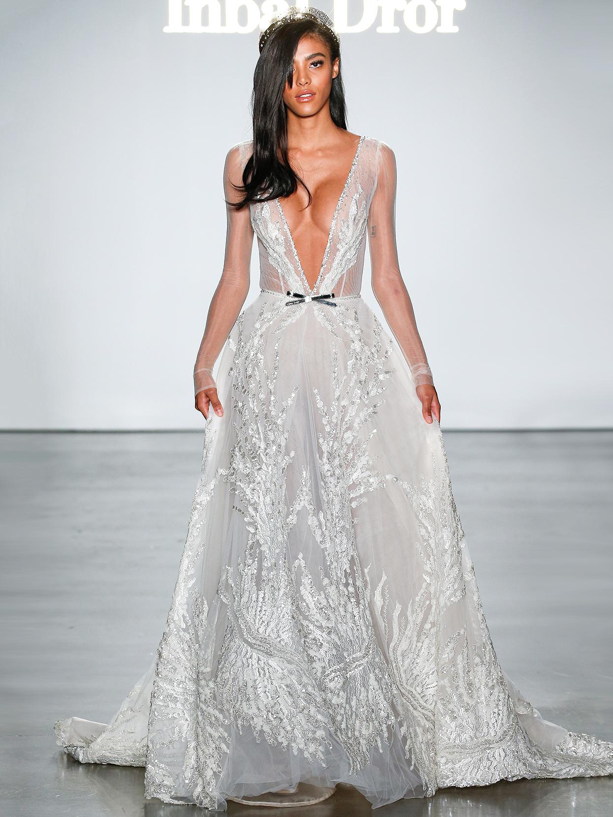 Inbal Dror layered plunging-neck wedding dress fall 2020