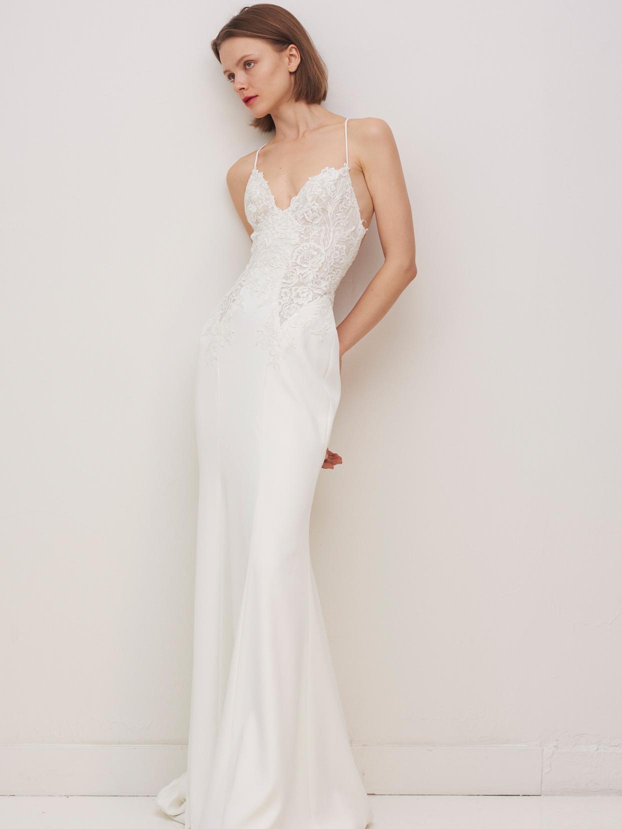 rivini by rita vinieris spaghetti strap v-neck lace bodice sheath wedding dress fall 2020