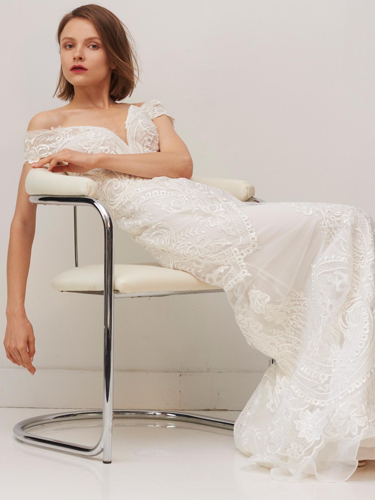rivini by rita vinieris off-the-shoulder embroidered sheath wedding dress fall 2020