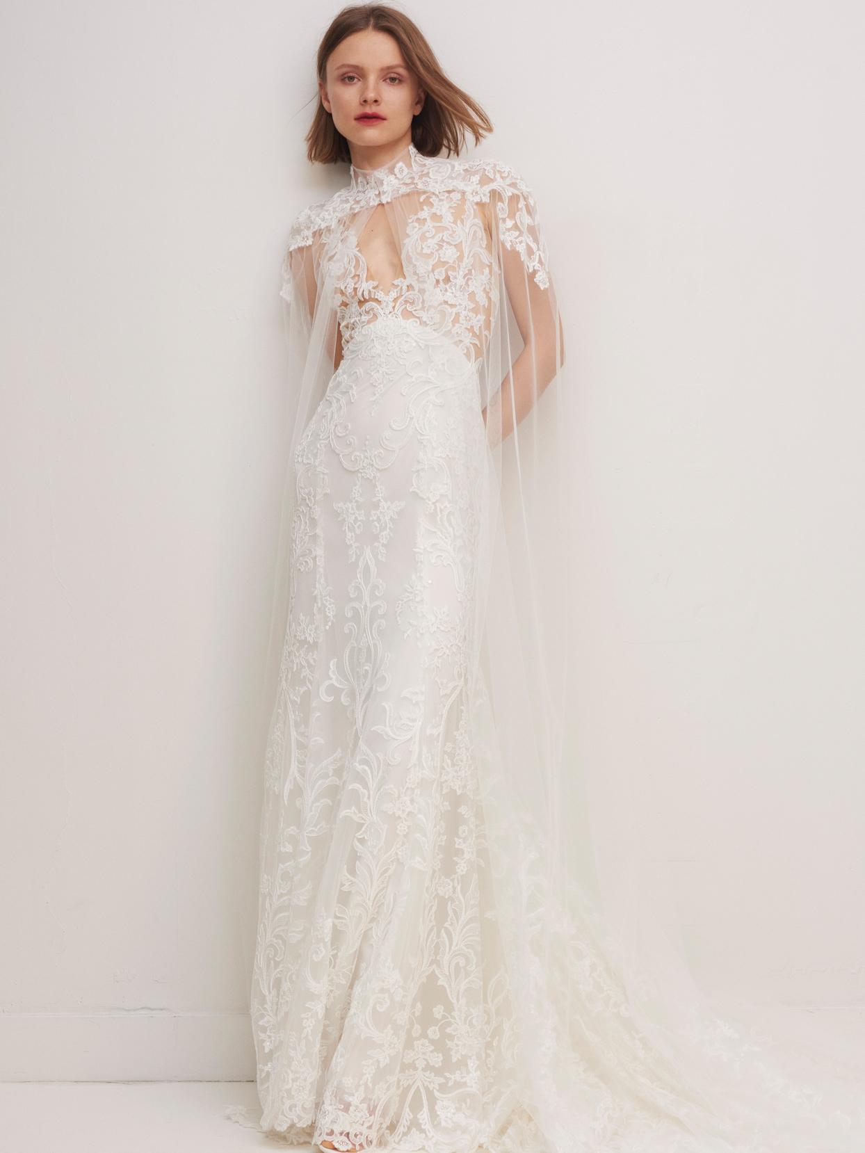 rivini by rita vinieris lace deep v-neck sheath wedding dress with cape fall 2020