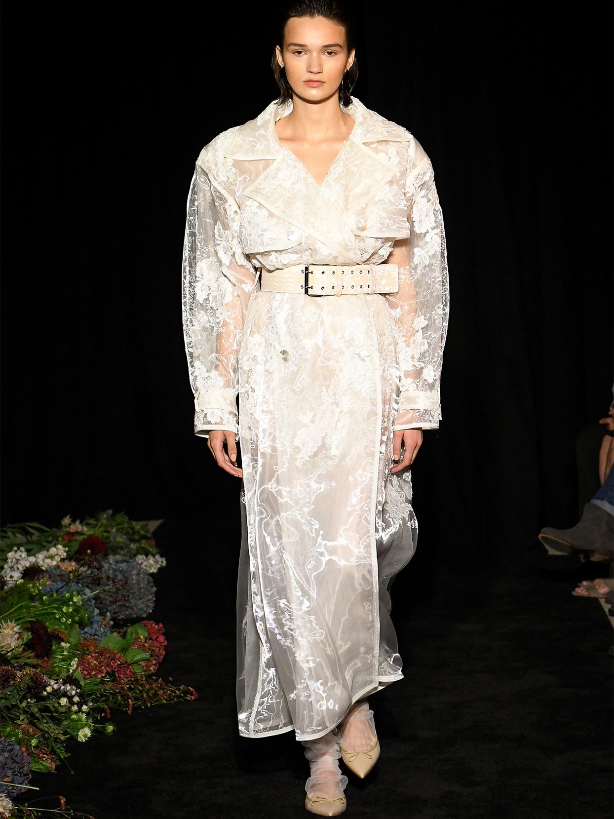 danielle frankel transparent trench coat wedding dress fall 2020