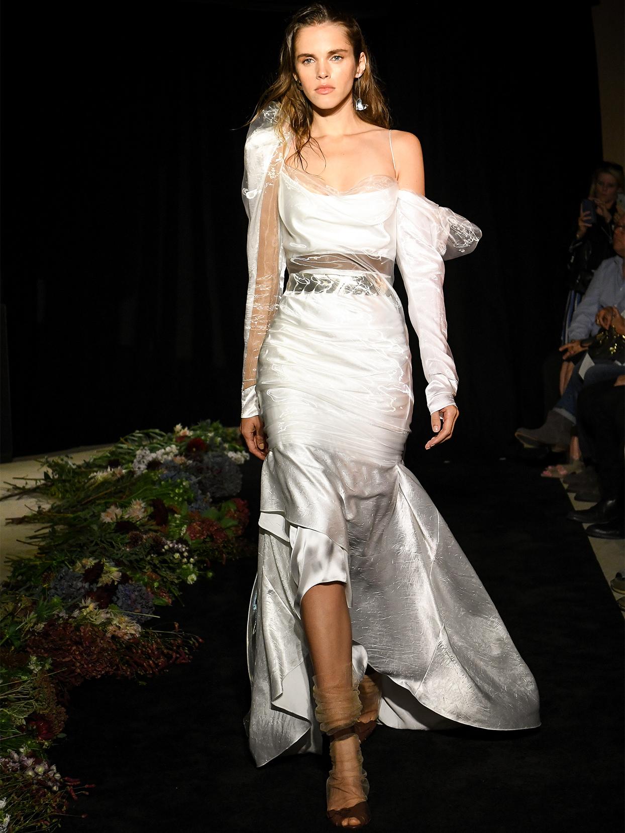 danielle frankel asymmetrical off the shoulder high low wedding dress fall 2020