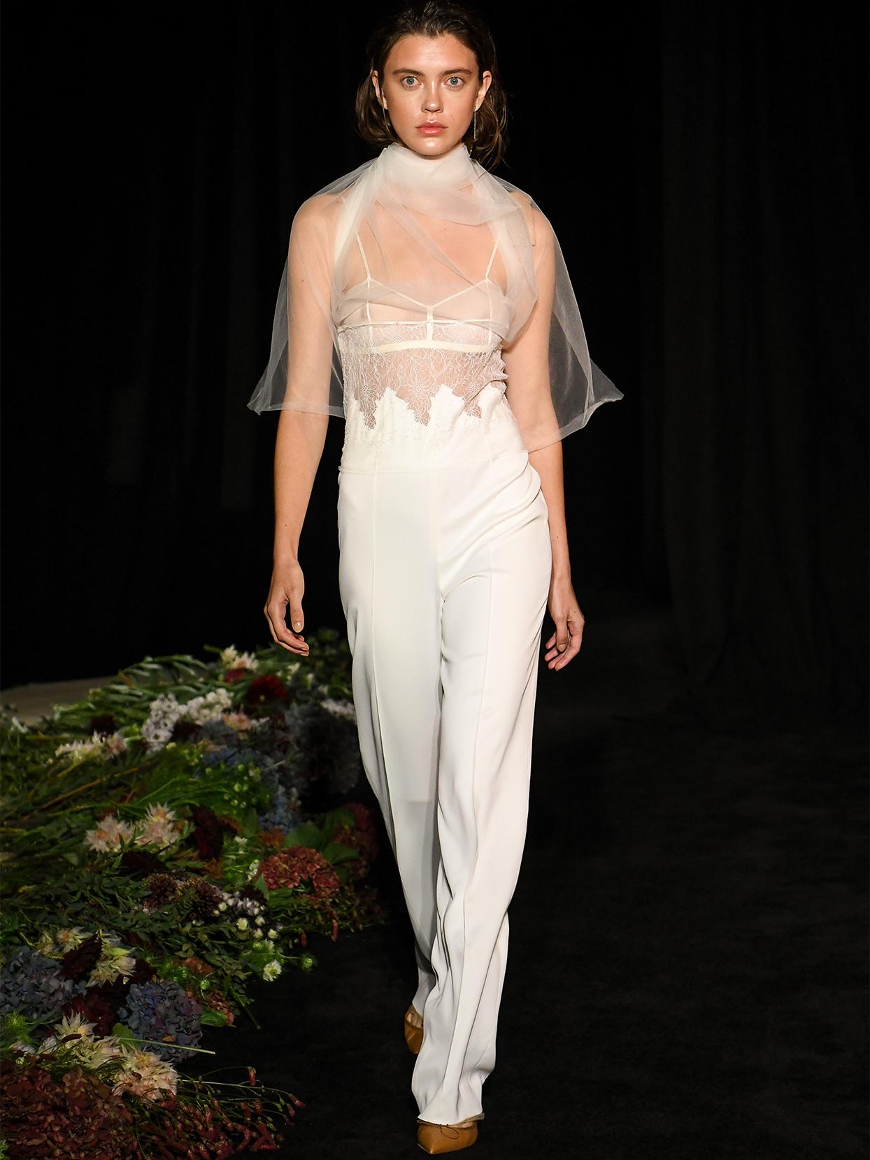 danielle frankel sheer bodice pants suit wedding dress fall 2020
