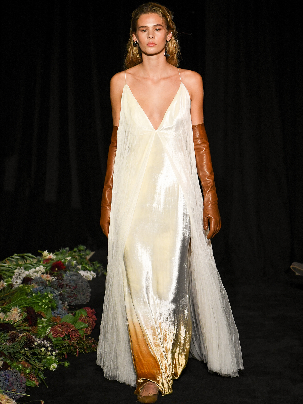 danielle frankel spaghetti strap v neck wedding dress fall 2020