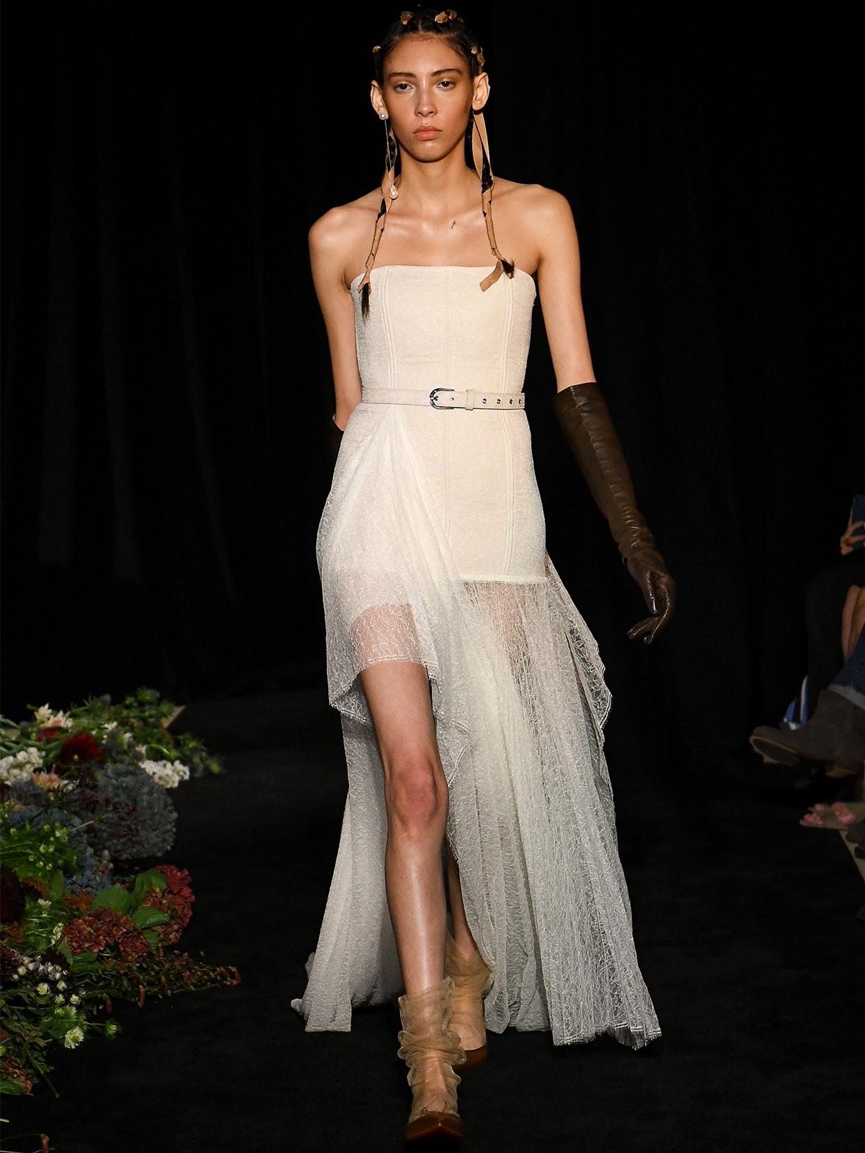 danielle frankel strapless high low belt wedding dress fall 2020