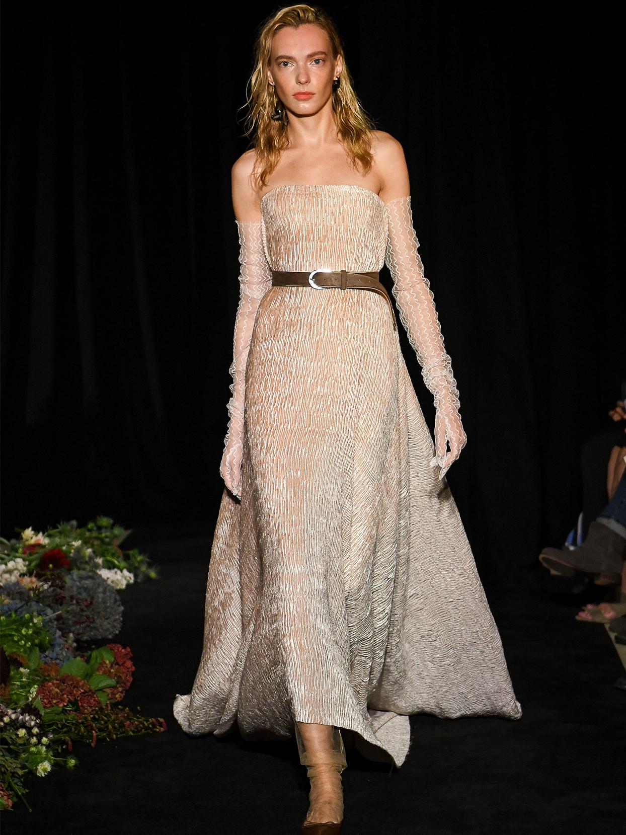 danielle frankel strapless a line sheer gloves wedding dress fall 2020