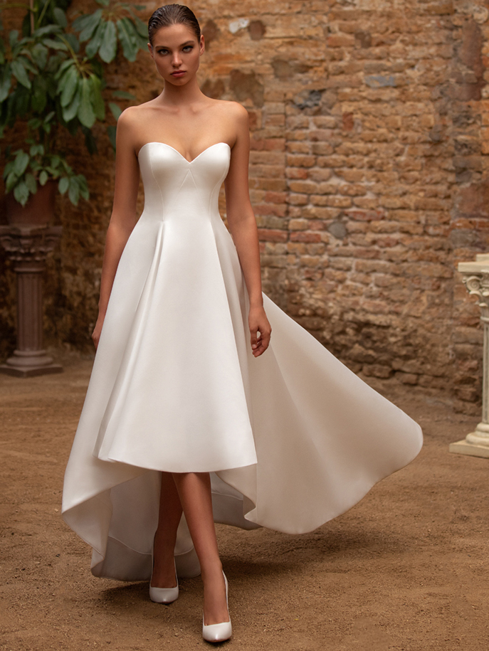 Zac Posen For White One strapless sweetheart high-low a-line wedding dress fall 2020
