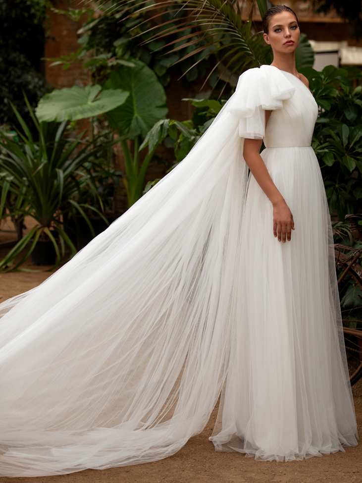 Zac Posen For White One tulle one shoulder a-line wedding dress fall 2020