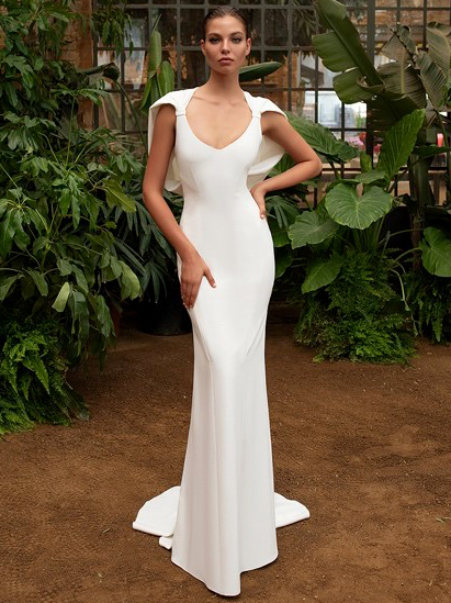 Zac Posen For White One draped cape back scoop neck loose trumpet wedding dress fall 2020