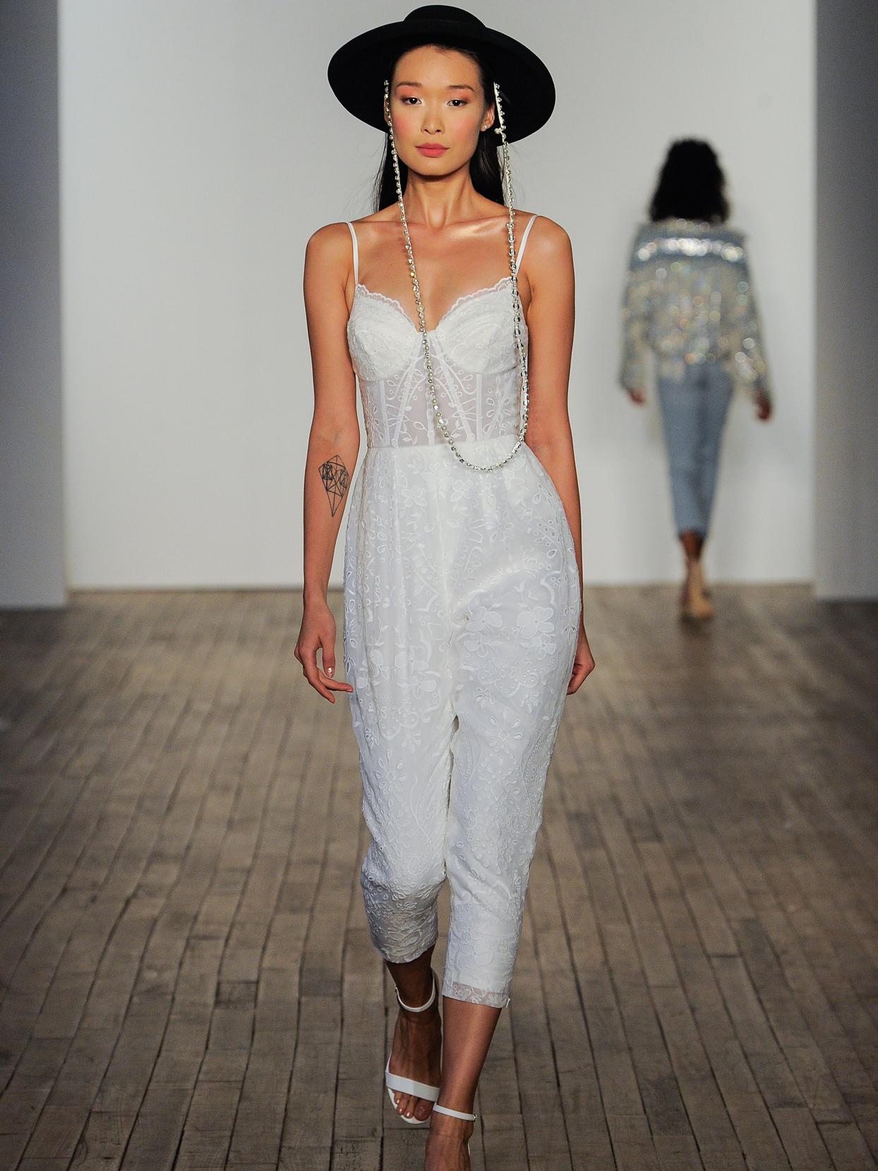 Hayley Paige sheer corset bodice jumpsuit wedding dress fall 2020