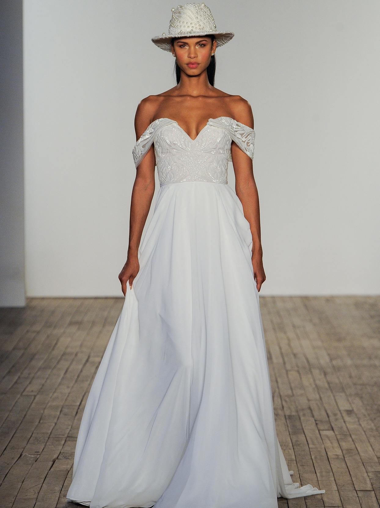 Hayley Paige off-the-shoulder chiffon a-line wedding dress fall 2020