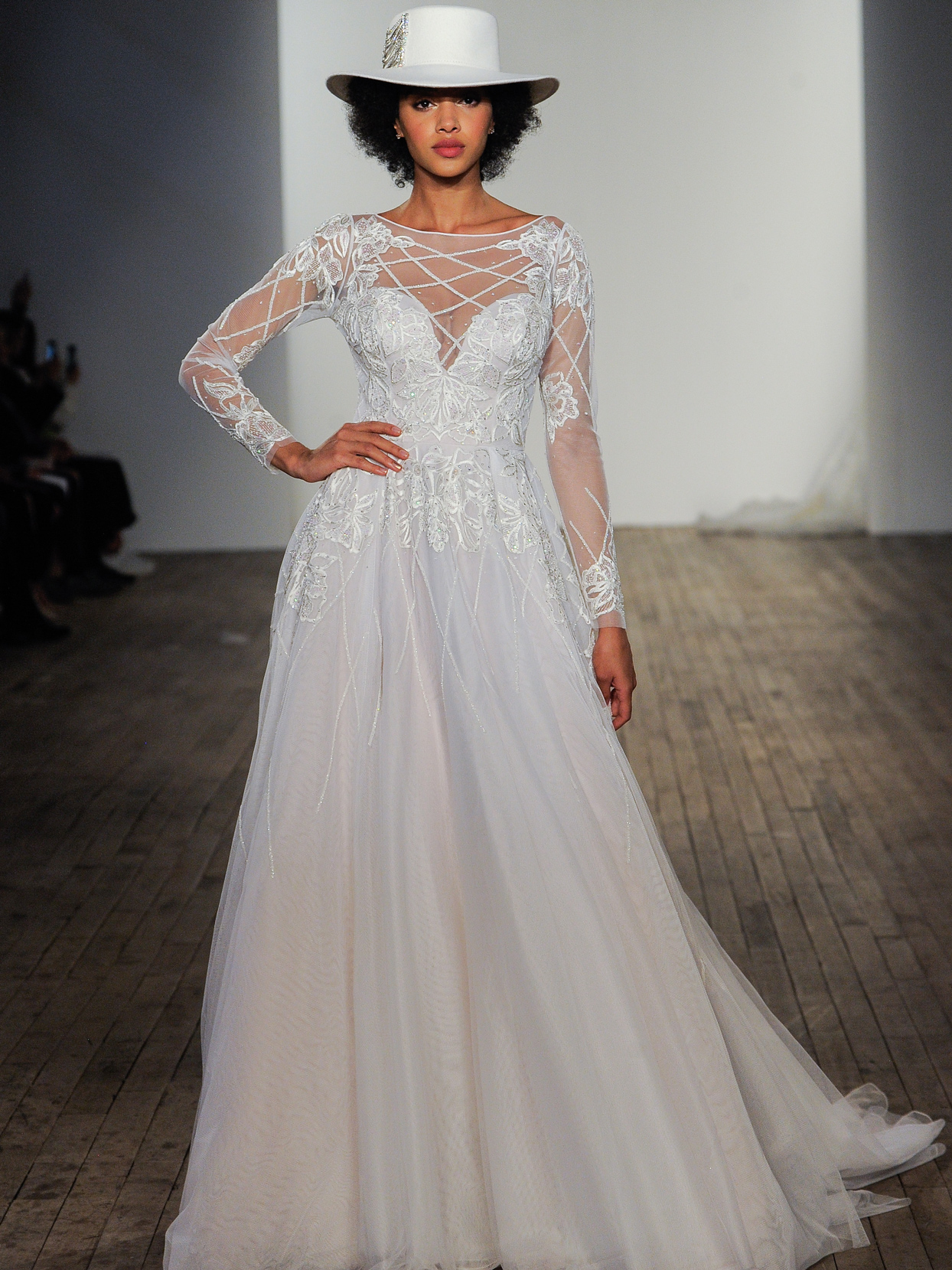 Hayley Paige illusion long sleeves bateau neckline a-line wedding dress fall 2020
